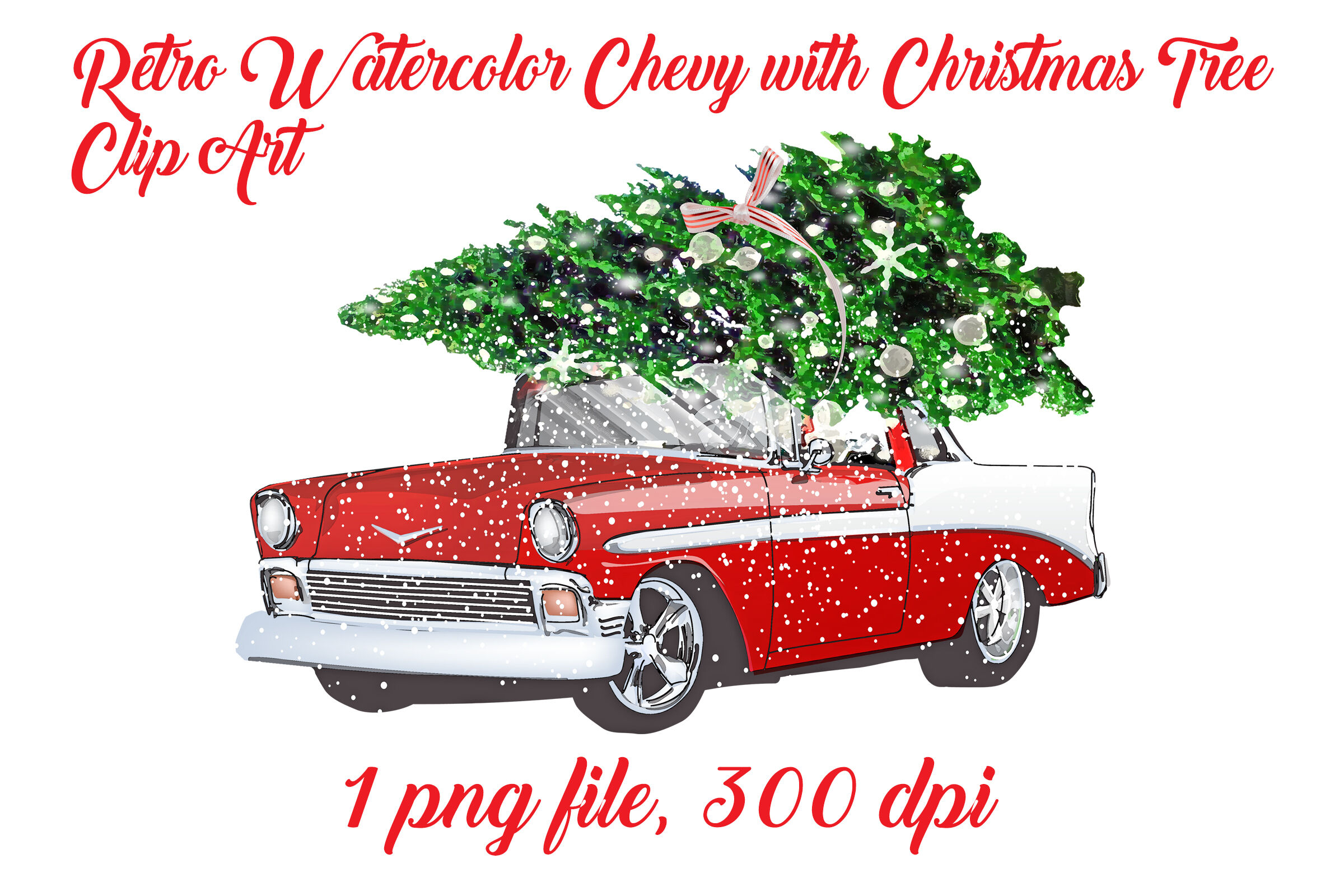 Retro Watercolor Chevy With Christmas Tree By Me And Amelie