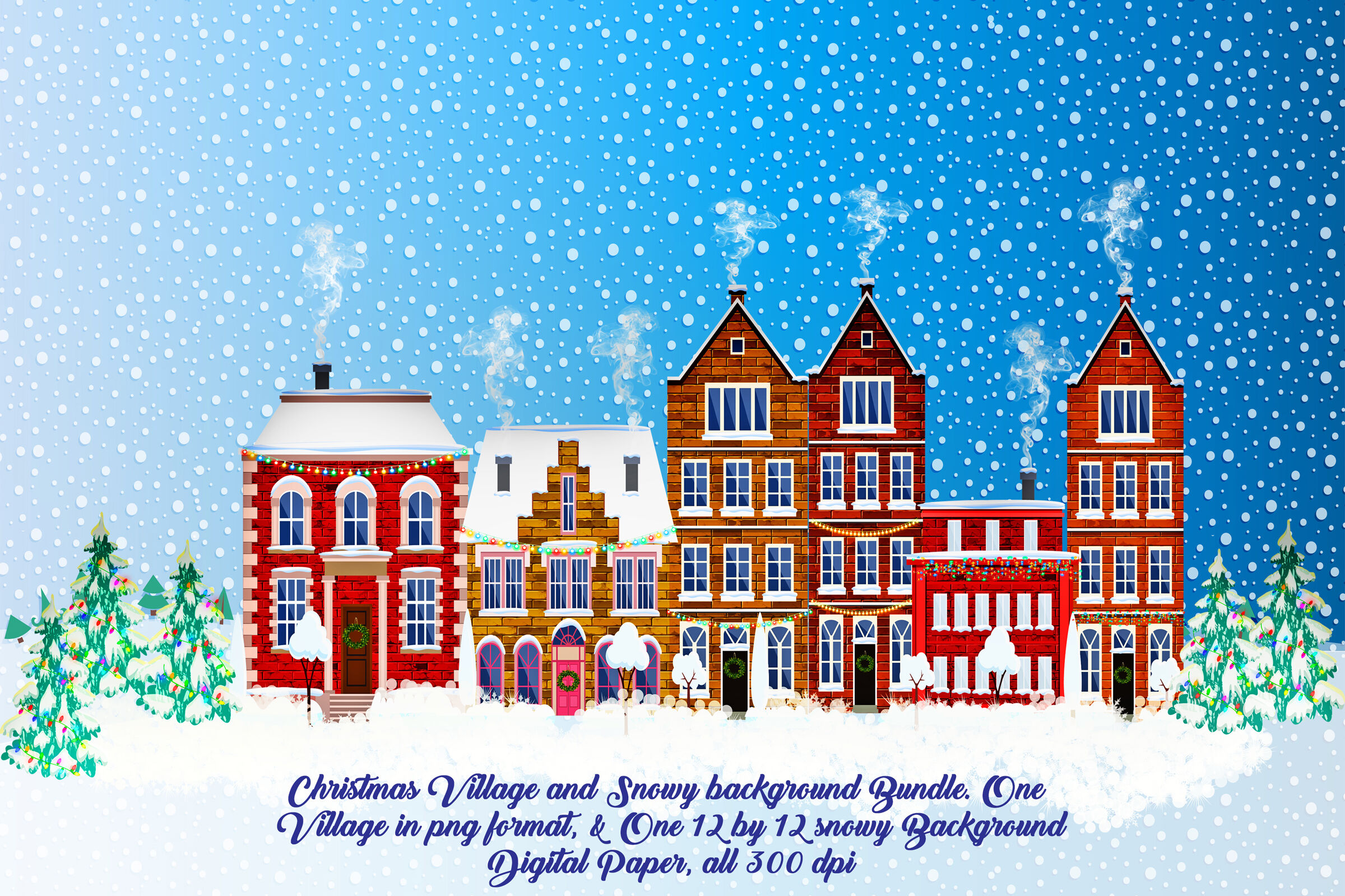 Christmas Village Clip Art Plus Bonus Snowy Background By Me And