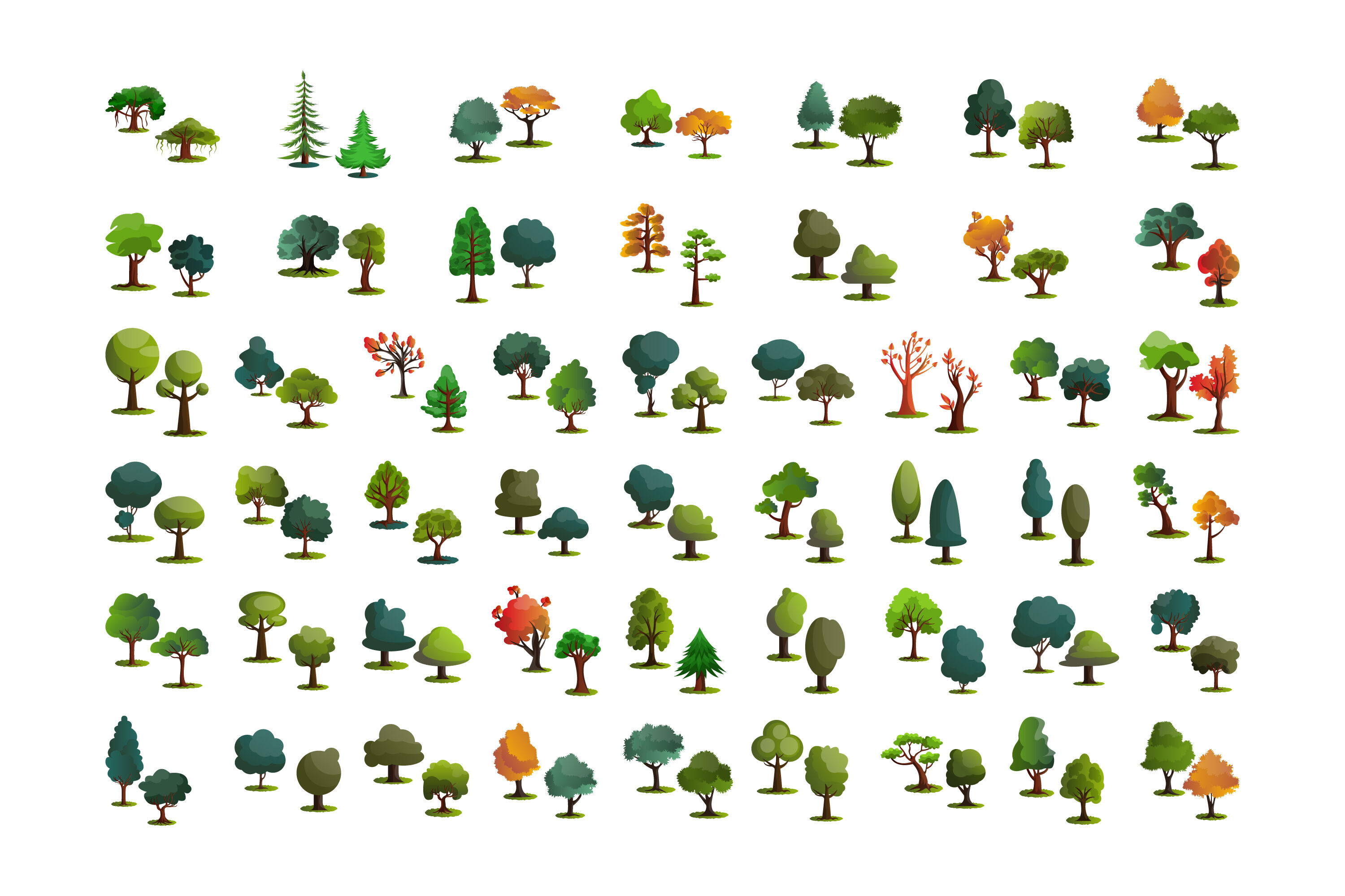 100x Different Trees Illustrations By Morphart Thehungryjpeg Com