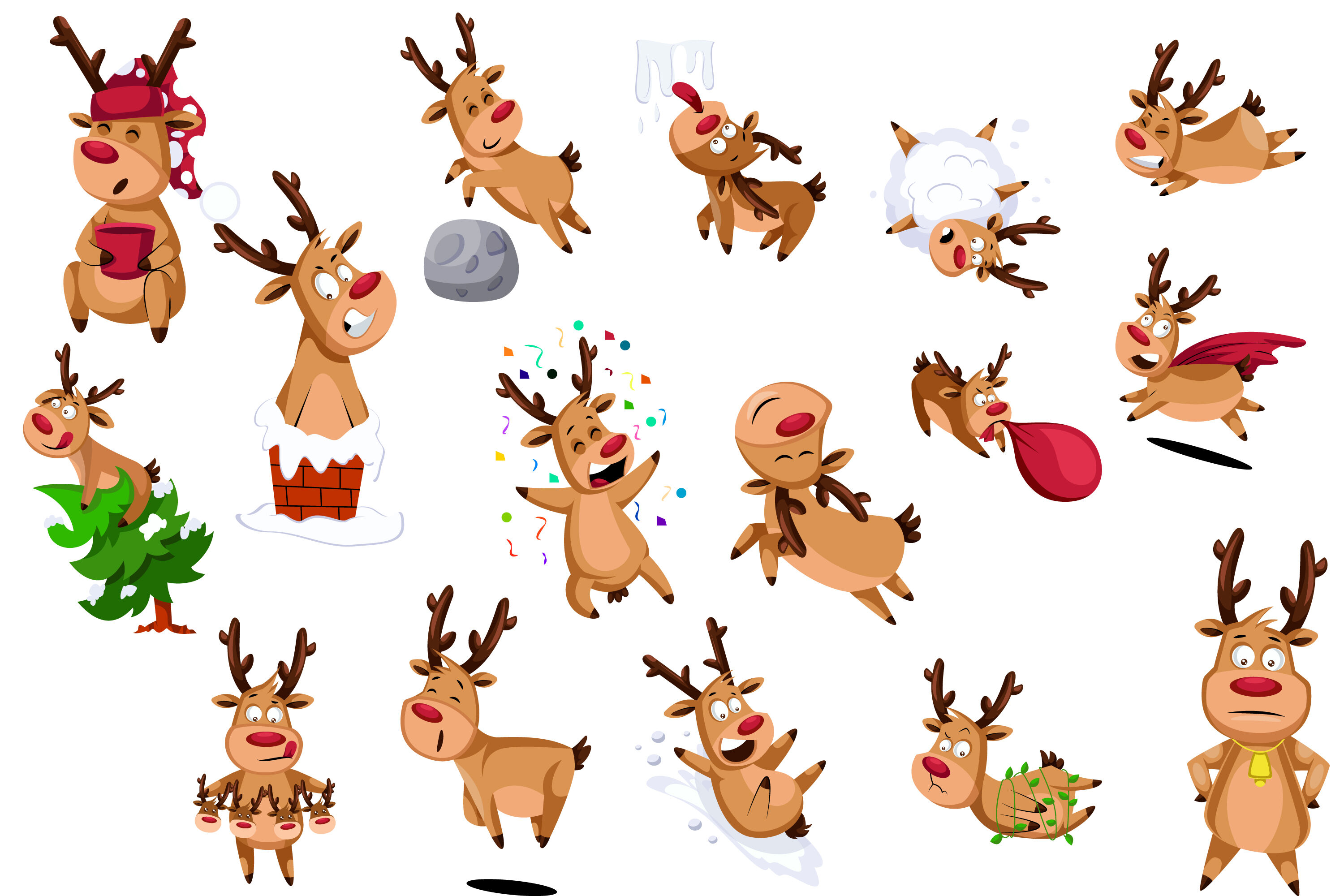 16x Funny Christmas Reindeer Illustrations By Morphart
