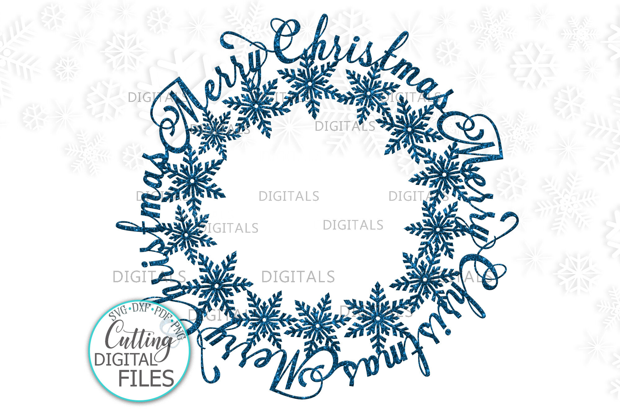 Merry Christmas Snowflakes Monogram Frame For Name Svg Cut By
