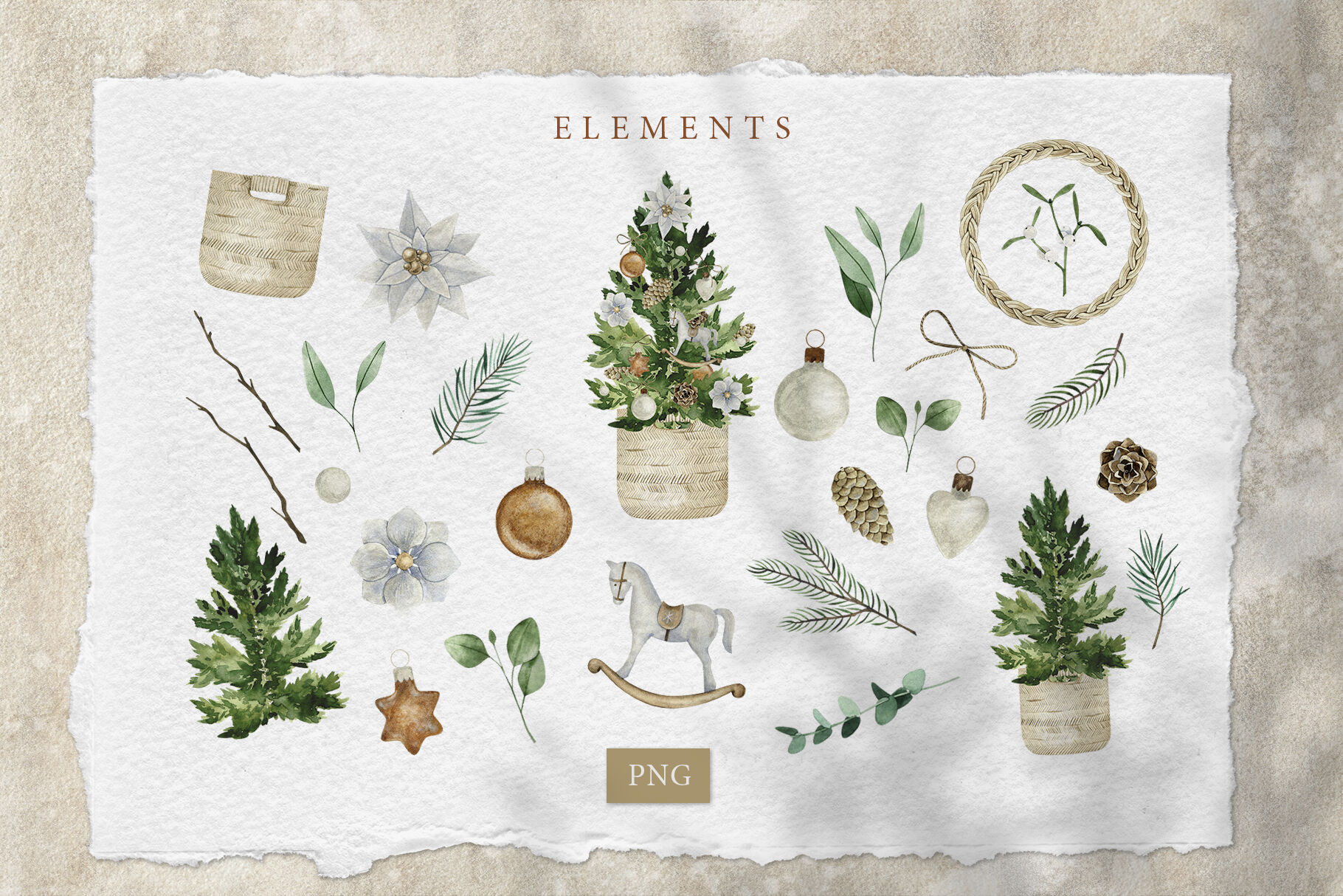Merry Christmas Watercolor Set By Patrushevayana Thehungryjpeg Com