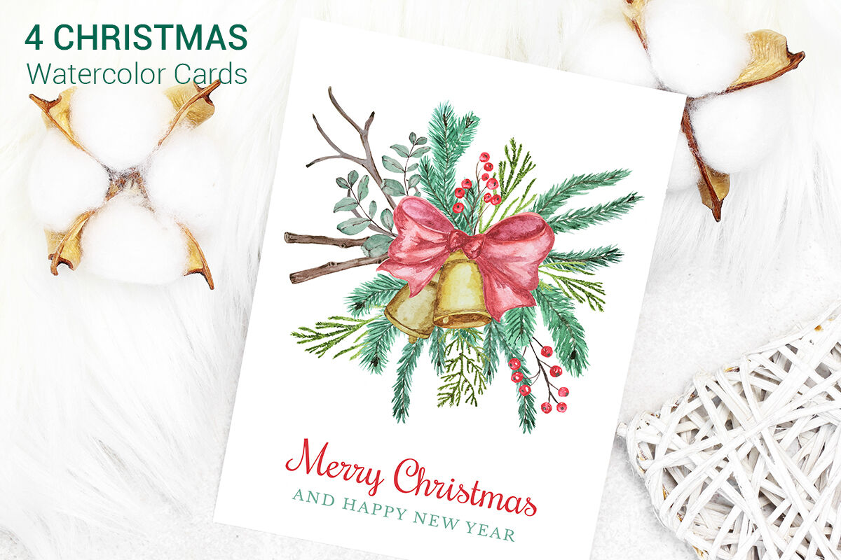Christmas Cards Watercolor Clipart By Paw Studio Thehungryjpeg Com