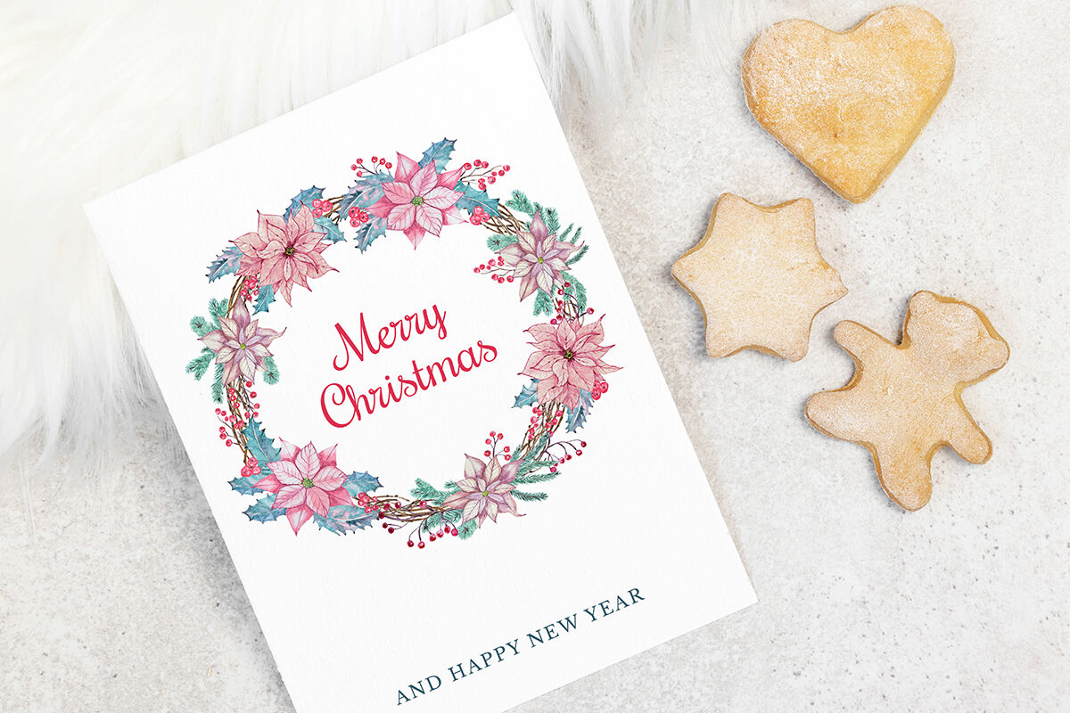 Christmas Cards Watercolor Decoration By Paw Studio