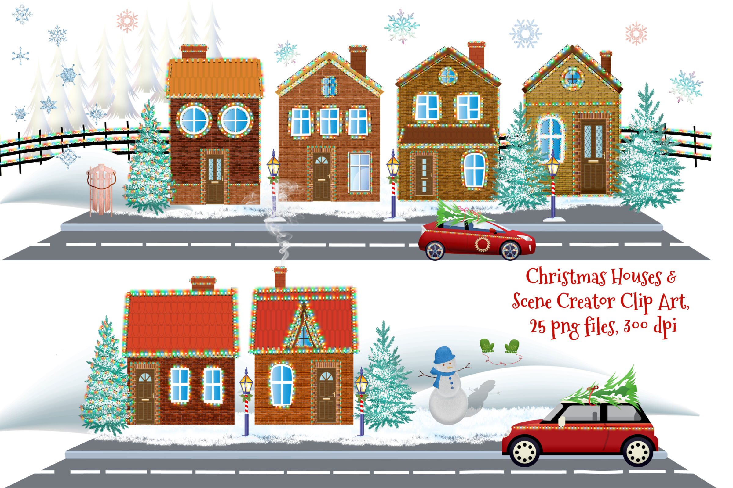 Christmas Houses And Scene Creator Clip Art By Me And Amelie