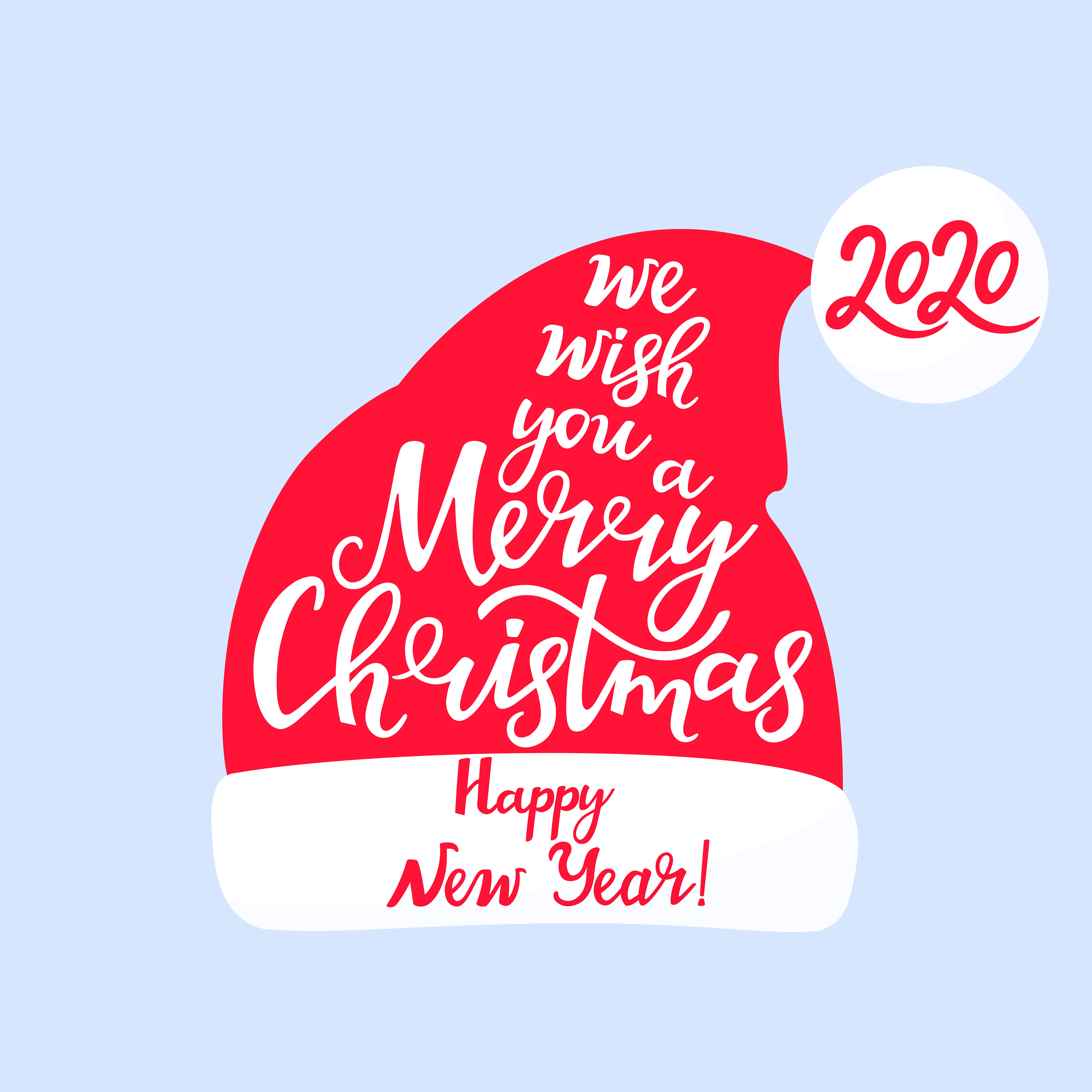 We Wish You A Merry Christmas And A Happy New Year Hand Lettering
