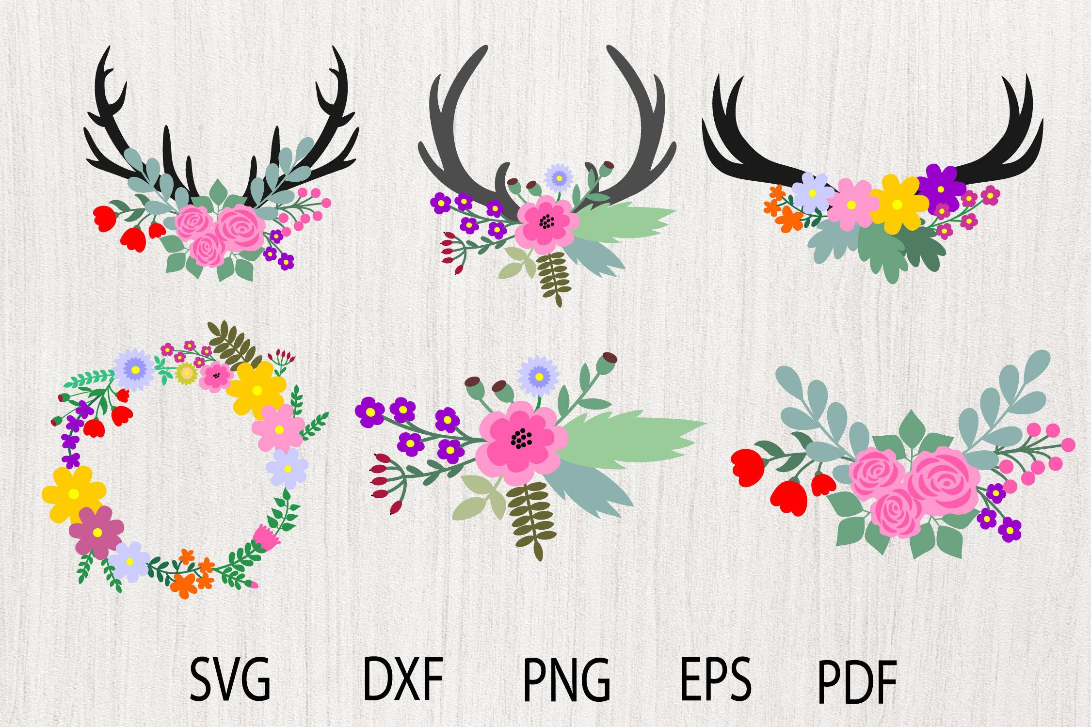 Floral Antlers Svg Floral Svg Flower Svg Flower Antlers By