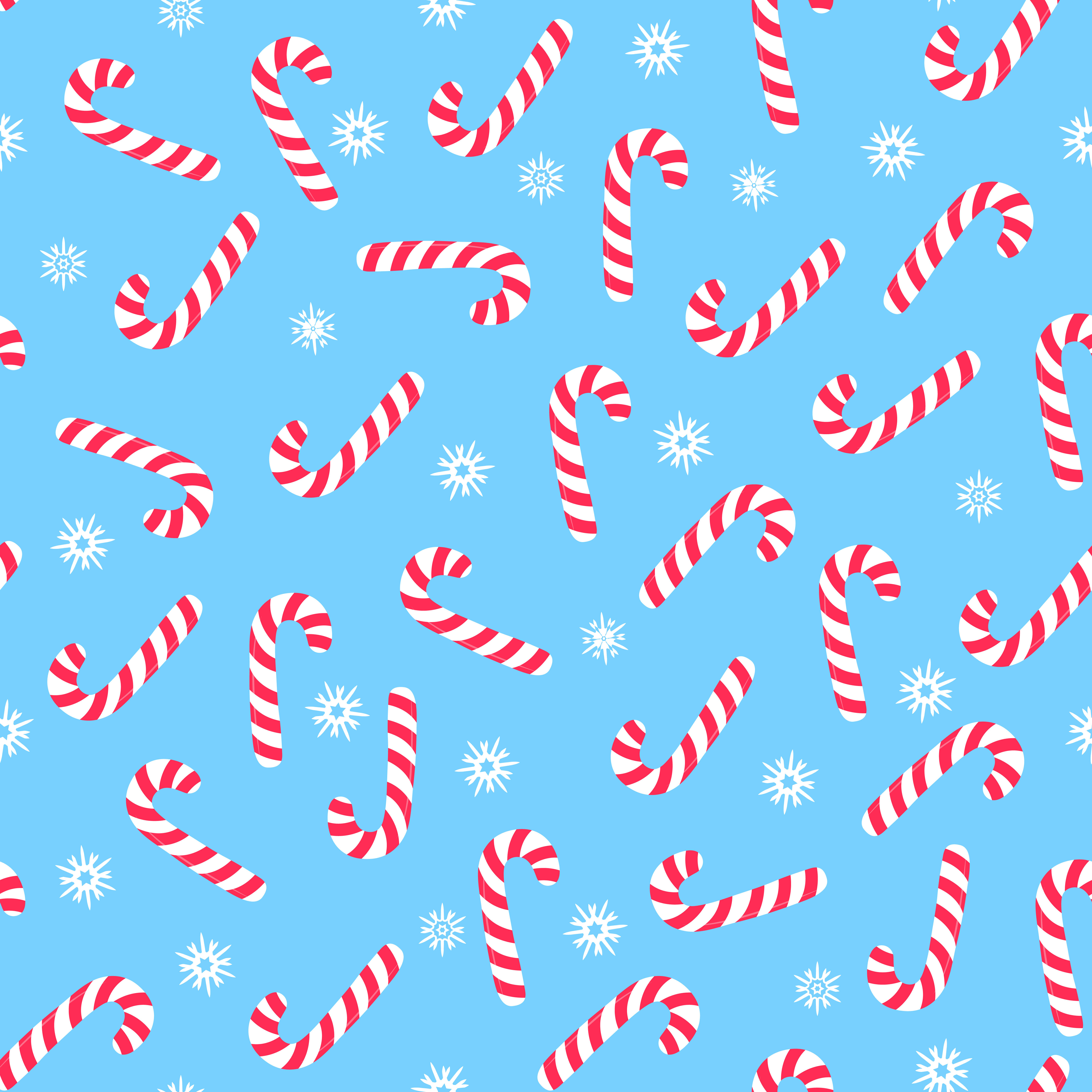 Christmas Candy Cane Falling Snowflakes New Year Seamless