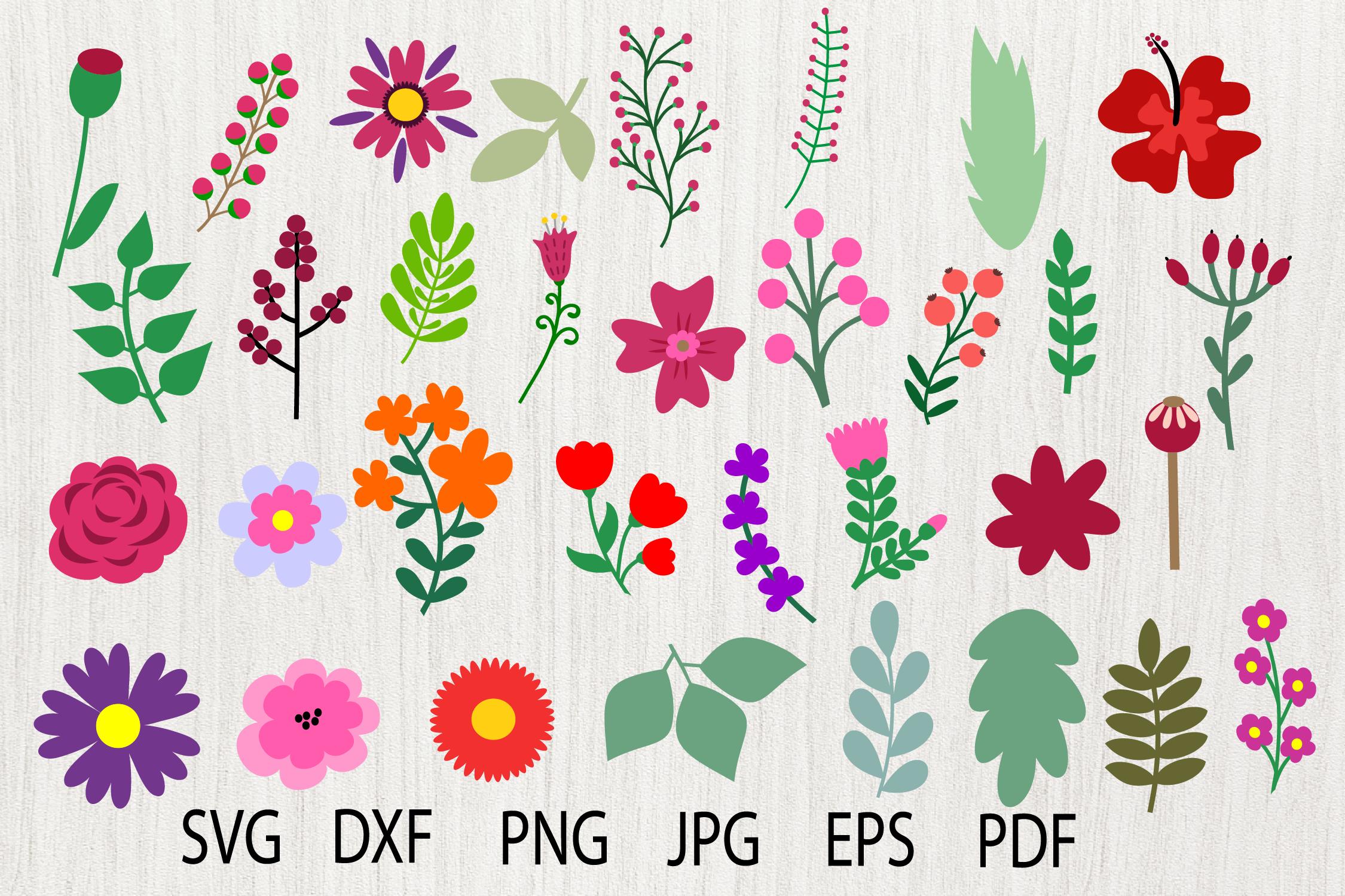Flower Svg Flower Elements Leaf Clipart By Julydigitalimages