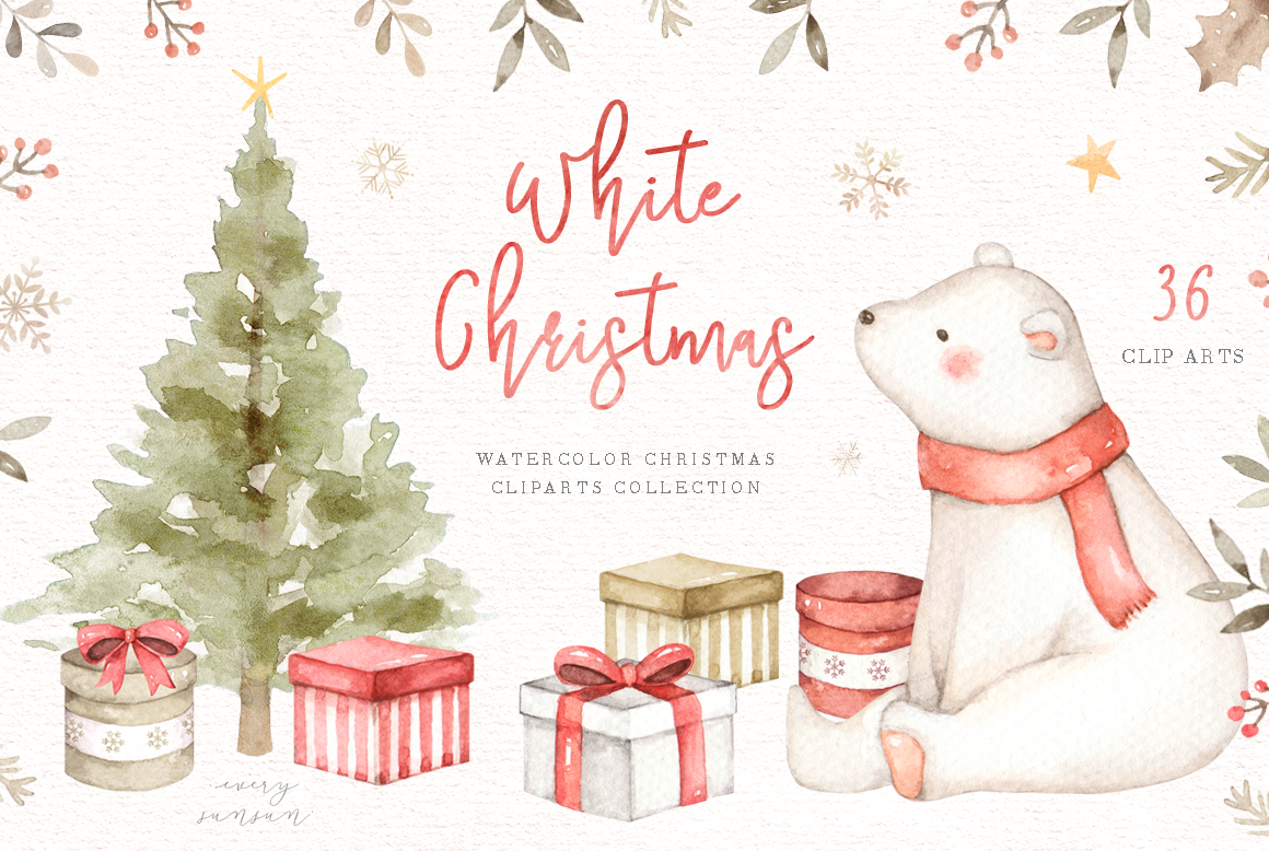 White Christmas Watercolor Clip Arts By Everysunsun