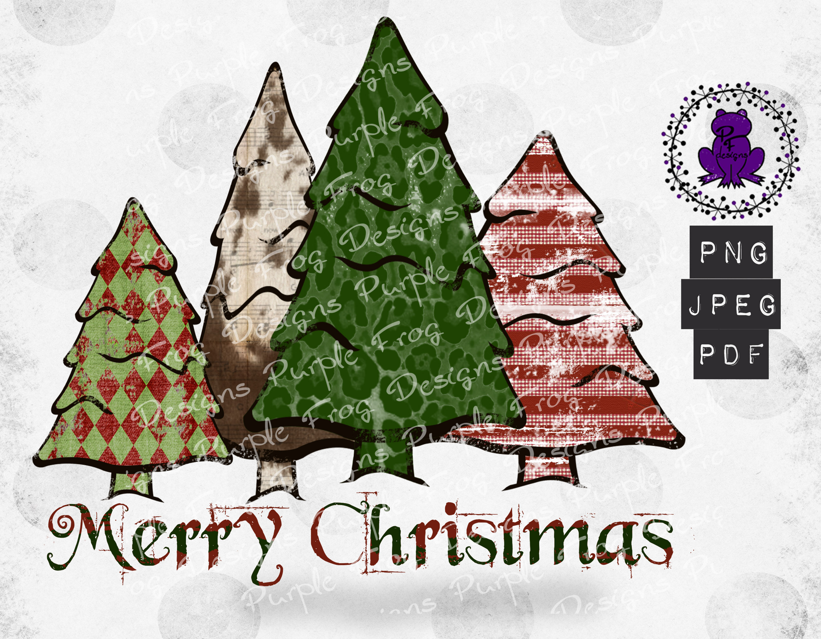 Merry Christmas Trees Leopard Print Distressed By Purple Frog