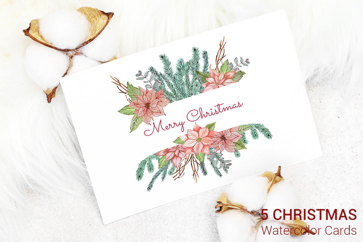 5 Christmas Cards Watercolor Decoration By Paw Studio