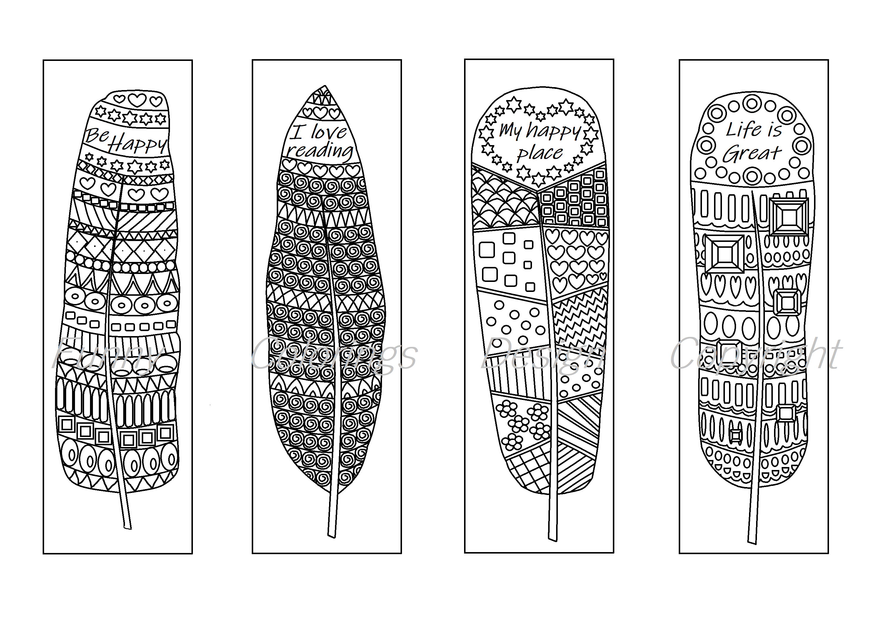 Coloring printable bookmarks feathers, coloring bookmark for ...