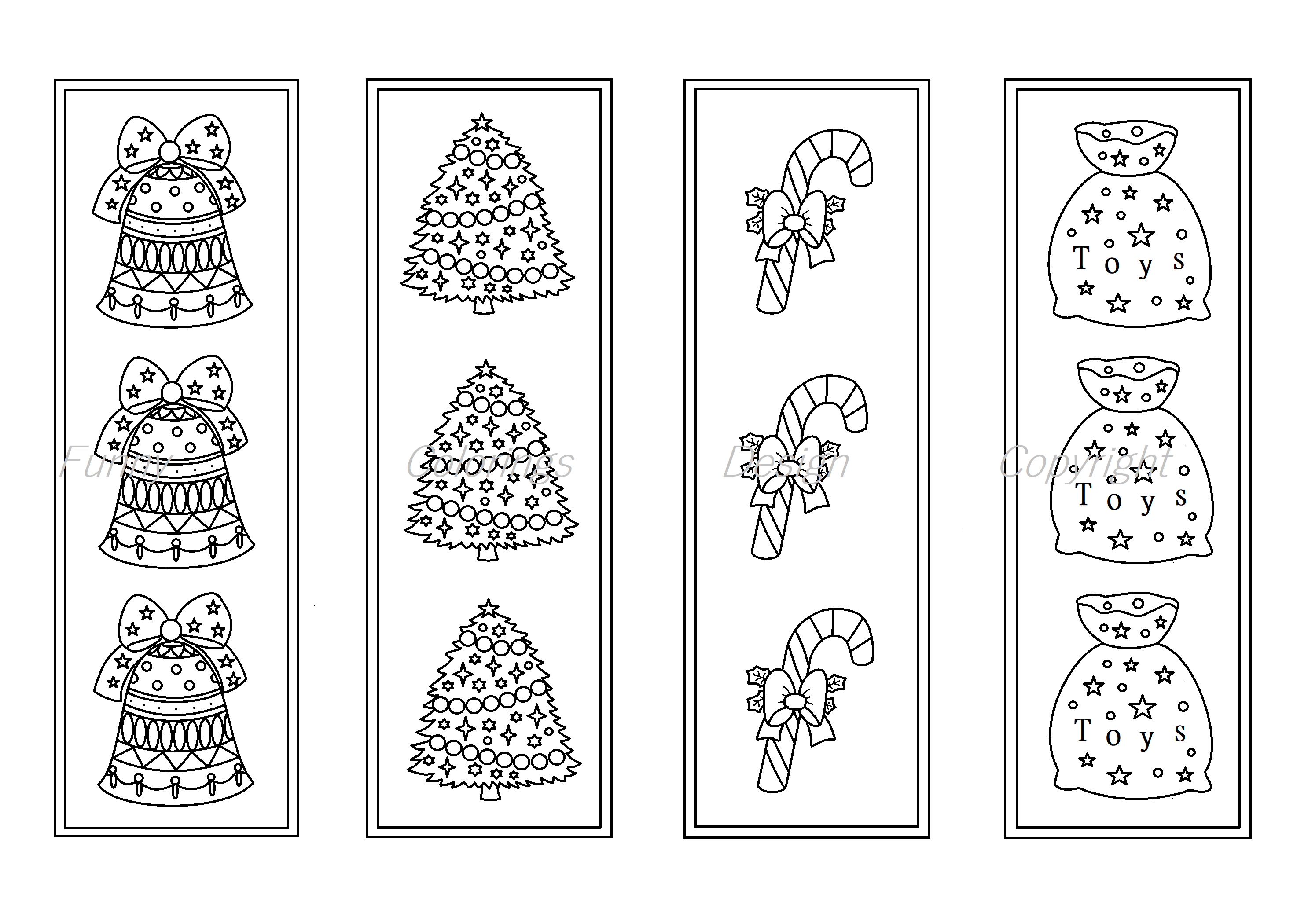 Christmas coloring printable bookmarks, bookmark to color By ...