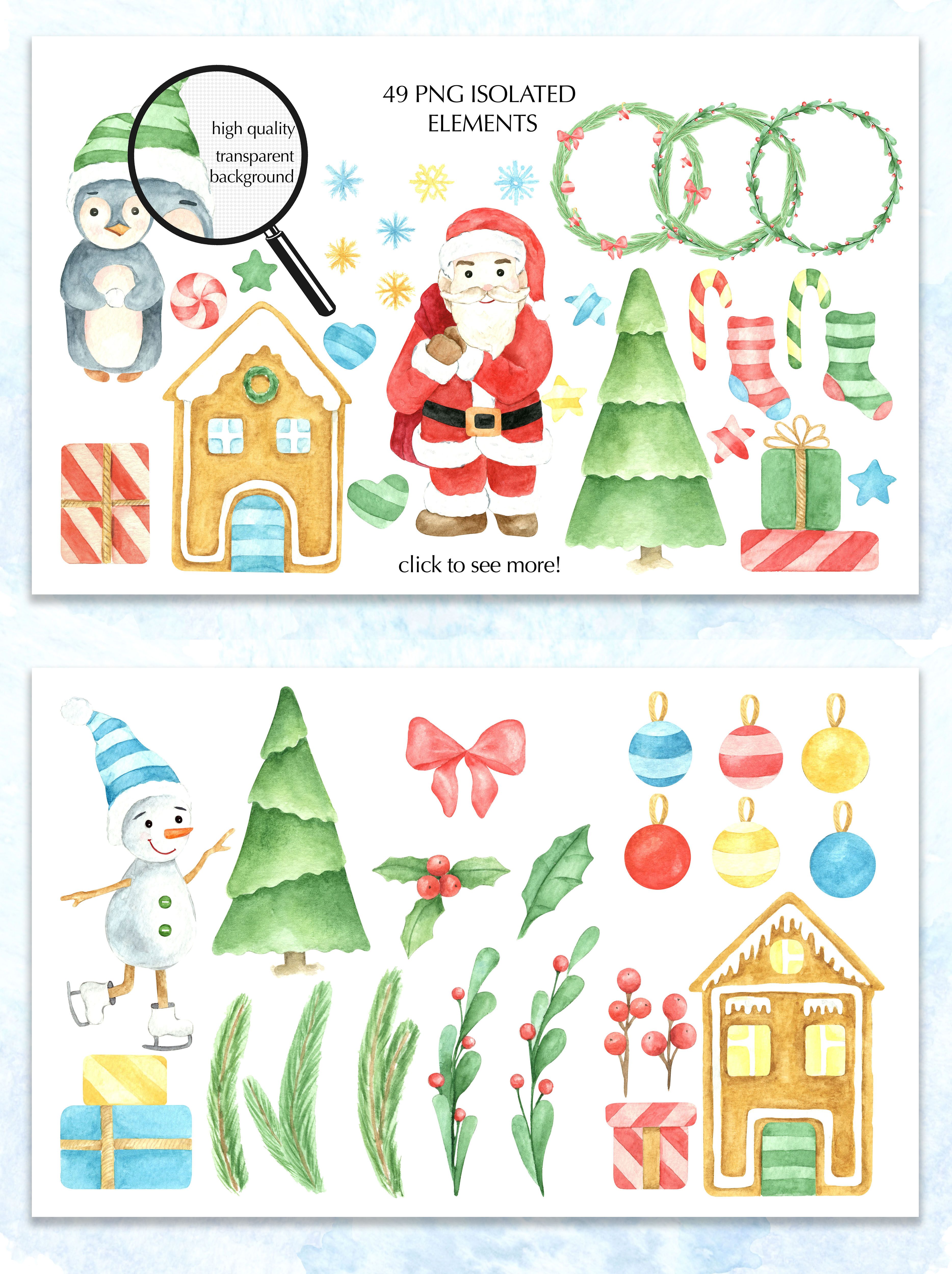 Watercolor Christmas Clipart By Nairart Thehungryjpeg Com