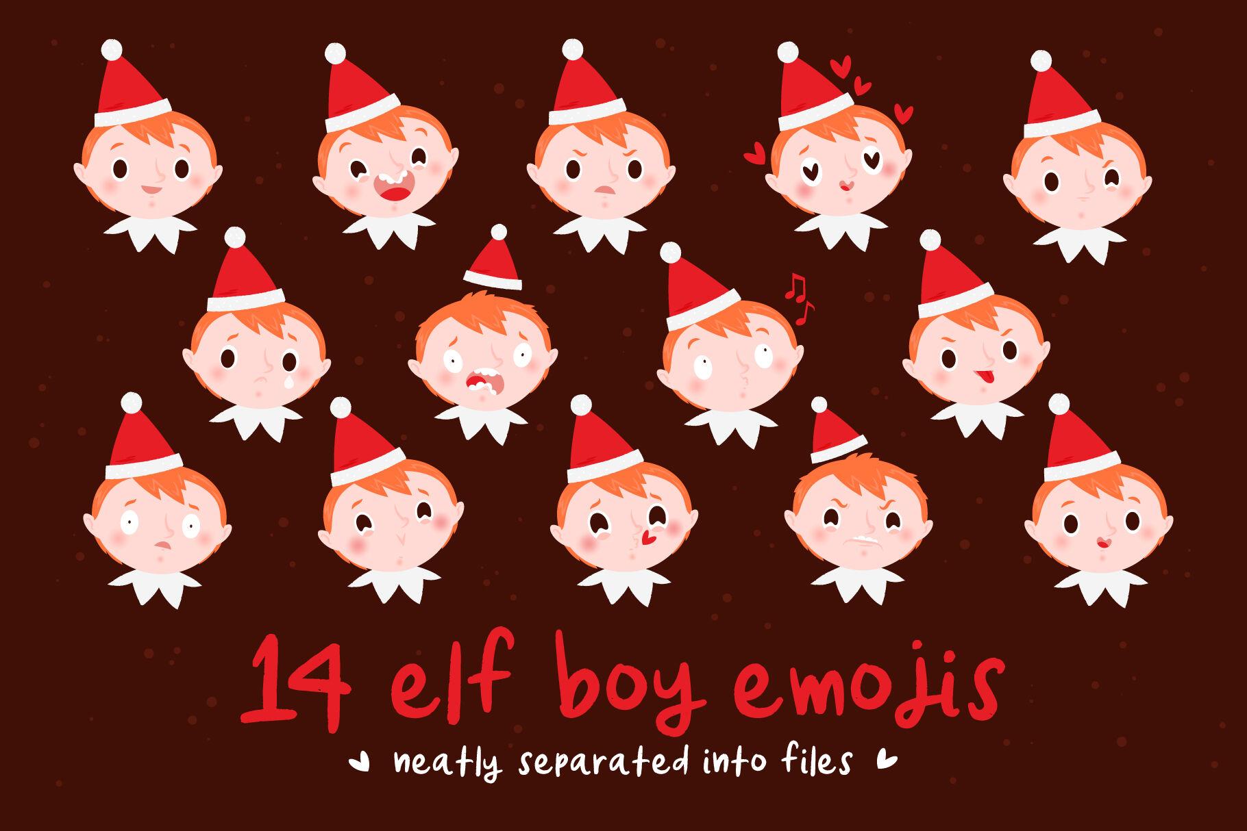 Christmas Elves Emojis By Side Project Thehungryjpeg Com