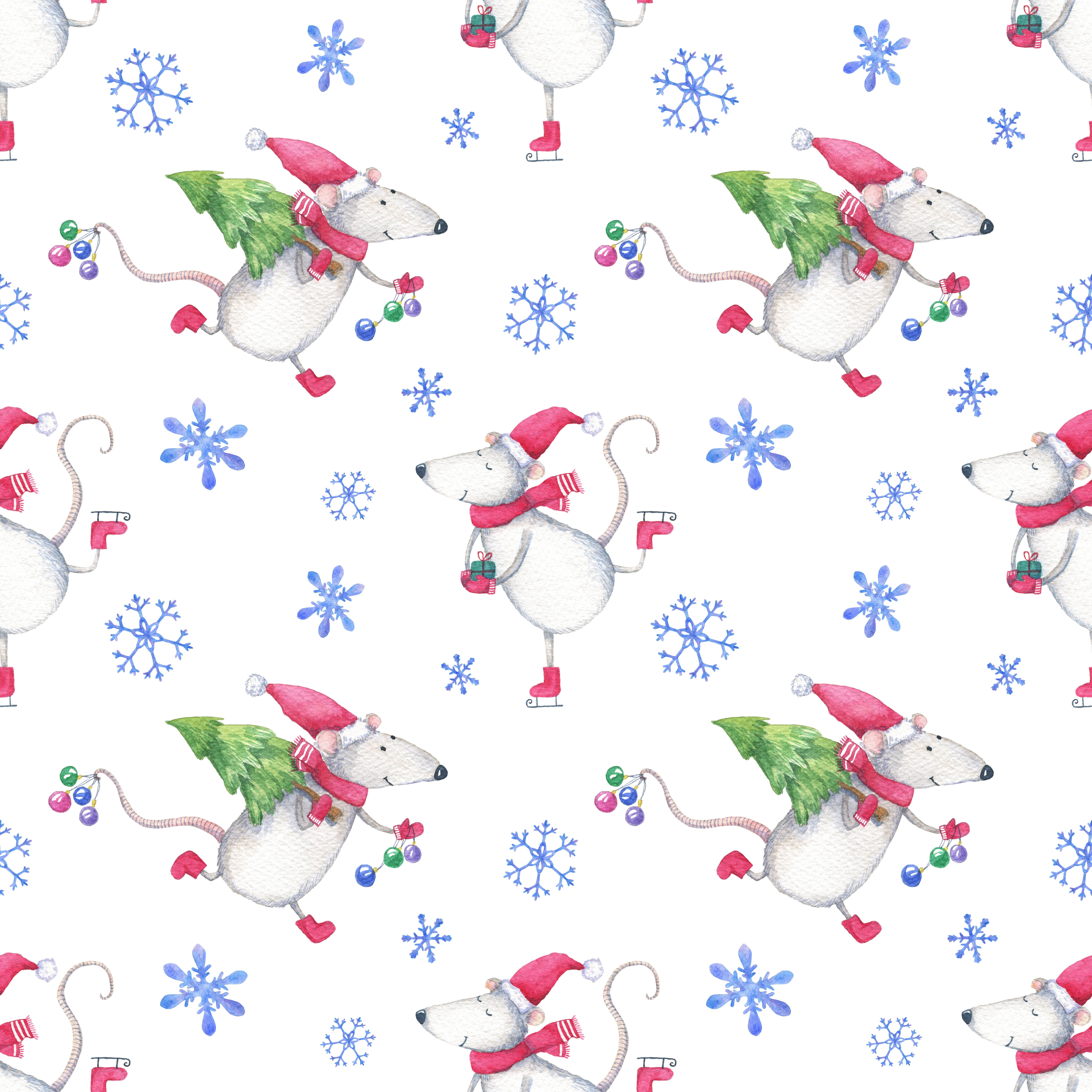 Watercolor New Year Christmas Seamless Pattern With Happy Mice By