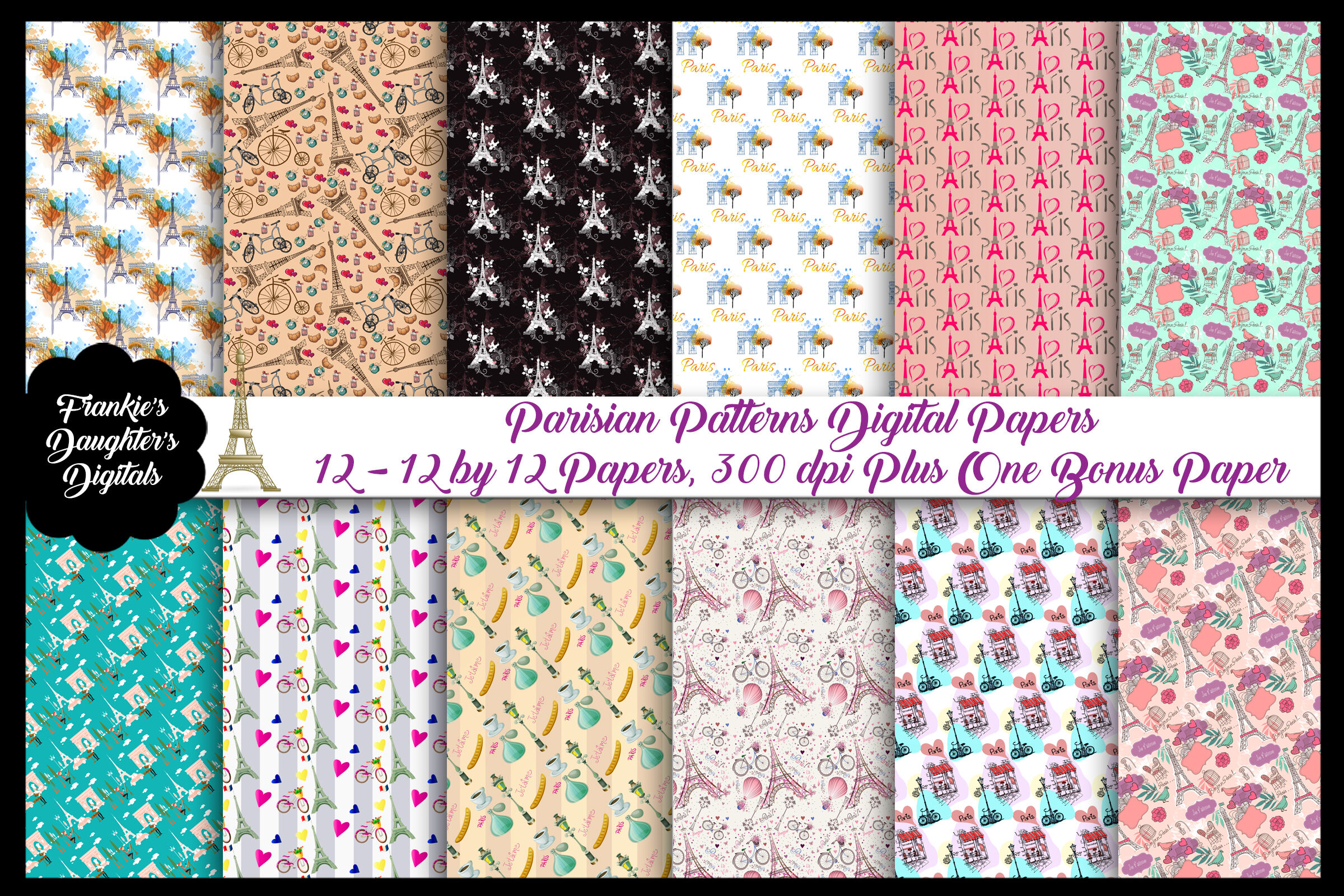 Paris French Patterns Digital Papers Plus 1 Bonus Paper By Me And
