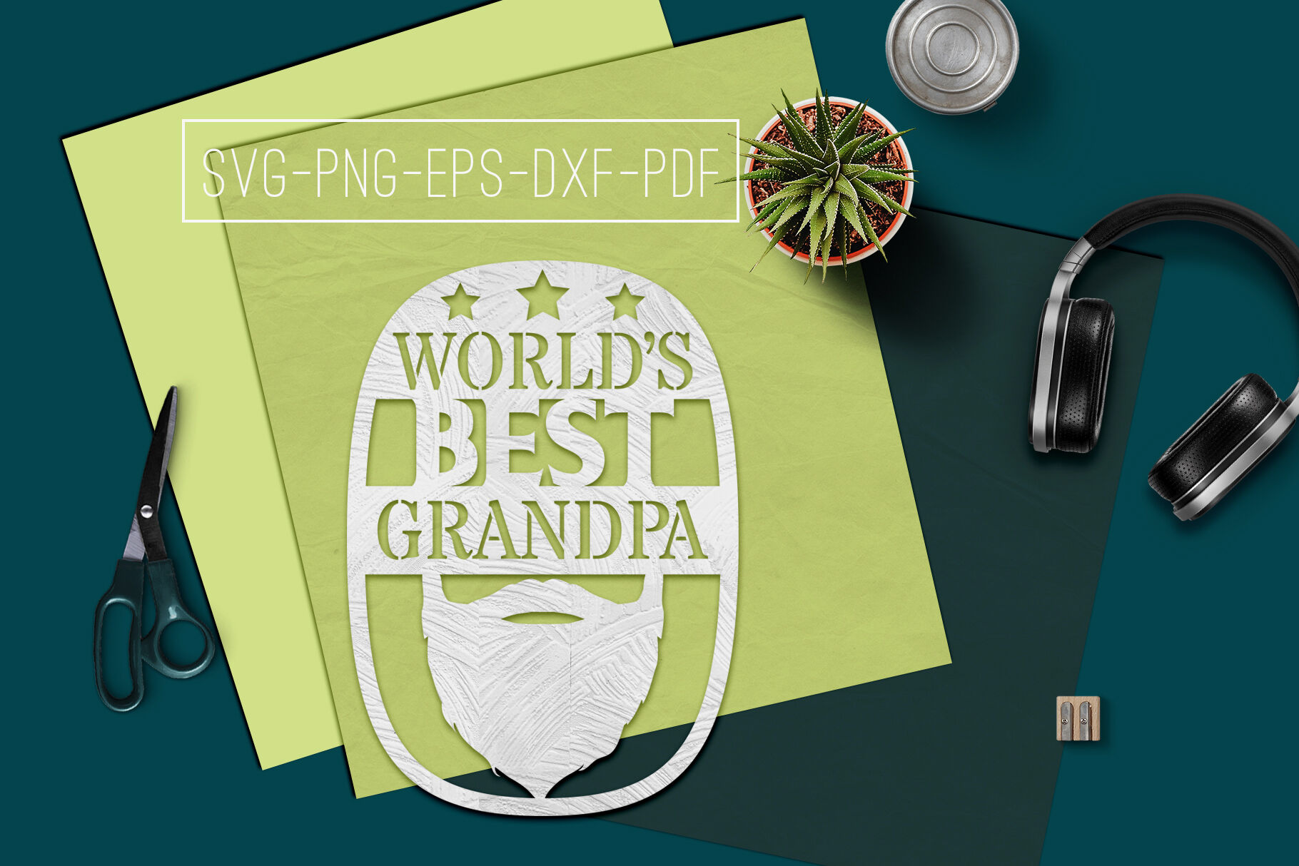 World S Best Grandpa Paper Cut Template Grandpa Svg Pdf By Mulia