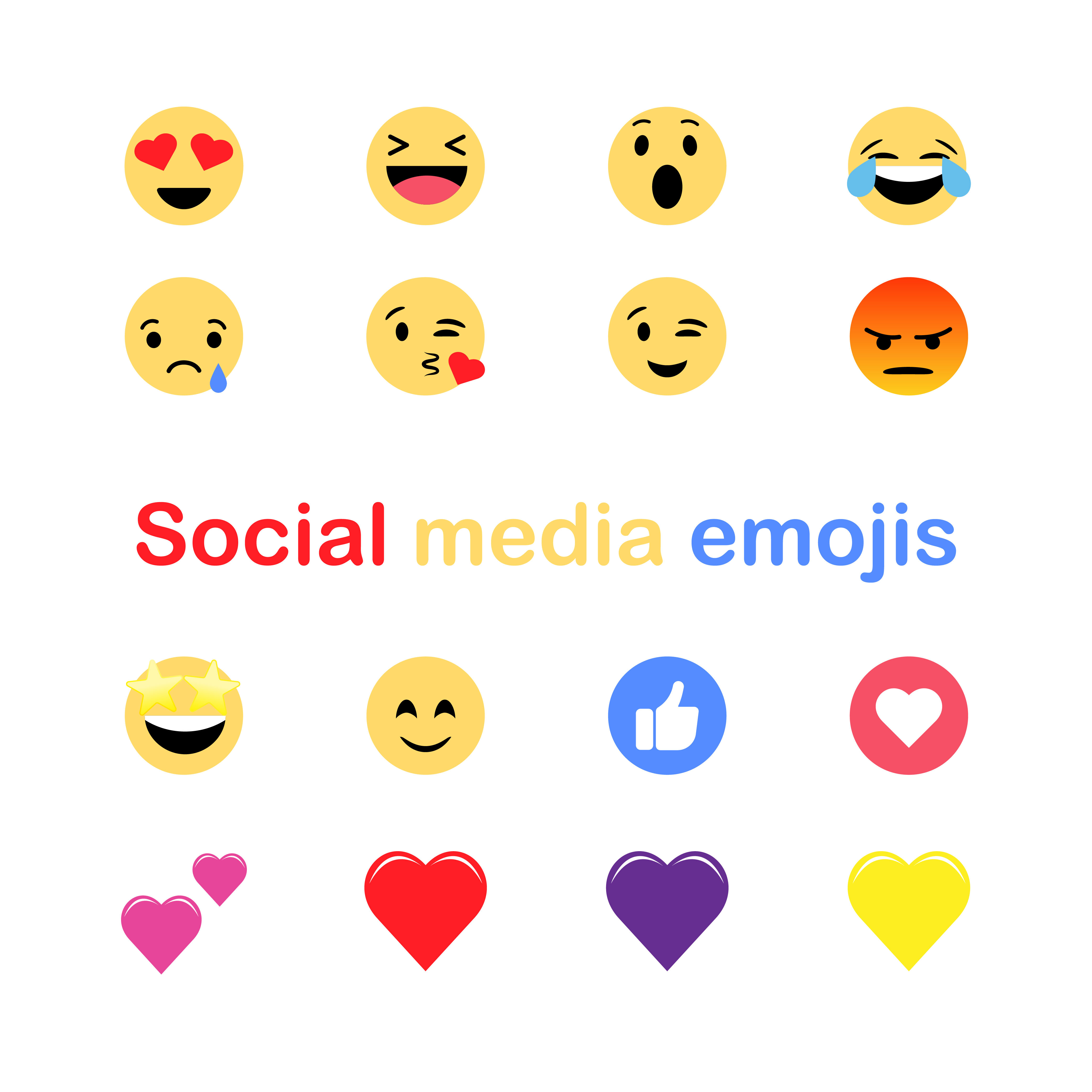Social Media Emojis Icons By Ayselzdesign Thehungryjpeg Com