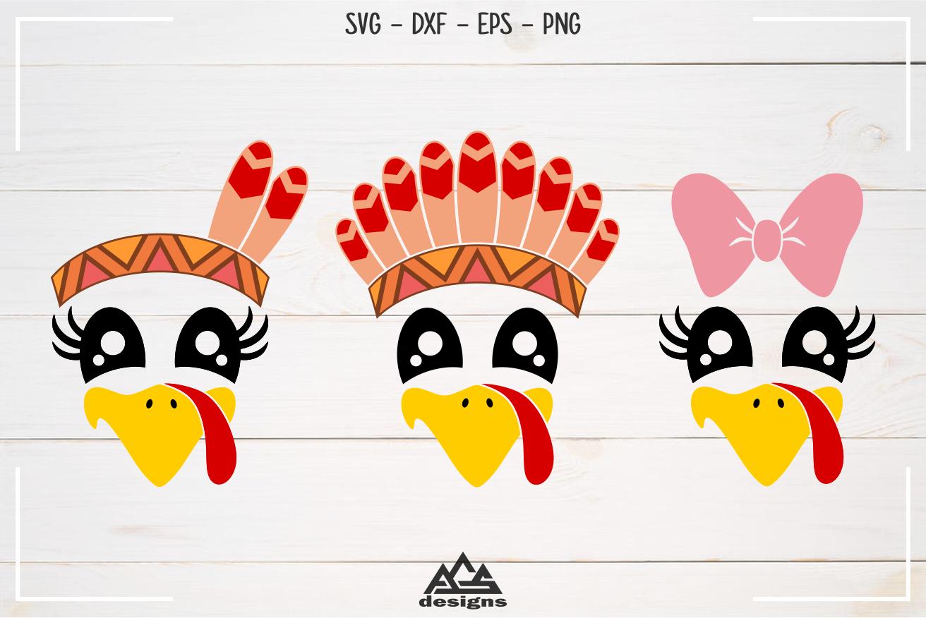 Cute Turkey Face Thanksgiving Svg Design By Agsdesign Thehungryjpeg Com