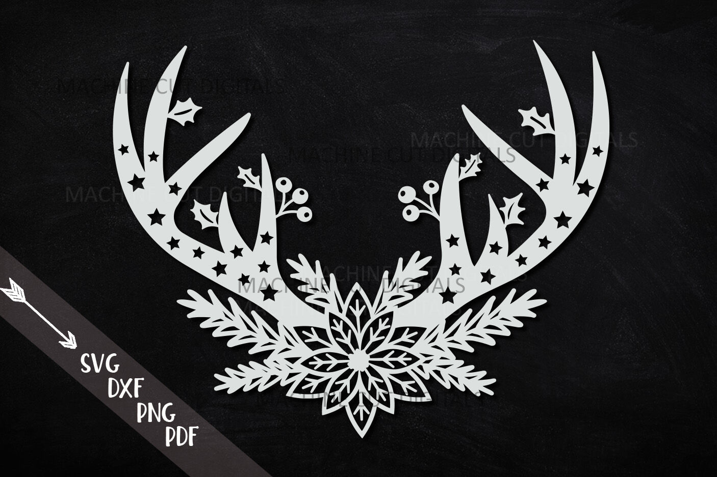 Poinsettia Floral Christmas Deer Antlers Svg Cut Out File By