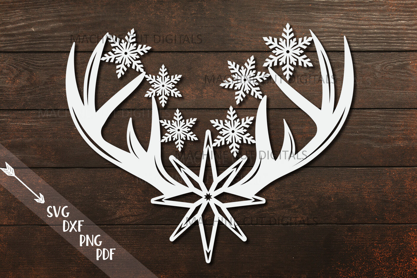 Christmas Deer Antlers With Star And Snowflakes Svg Cut Out By