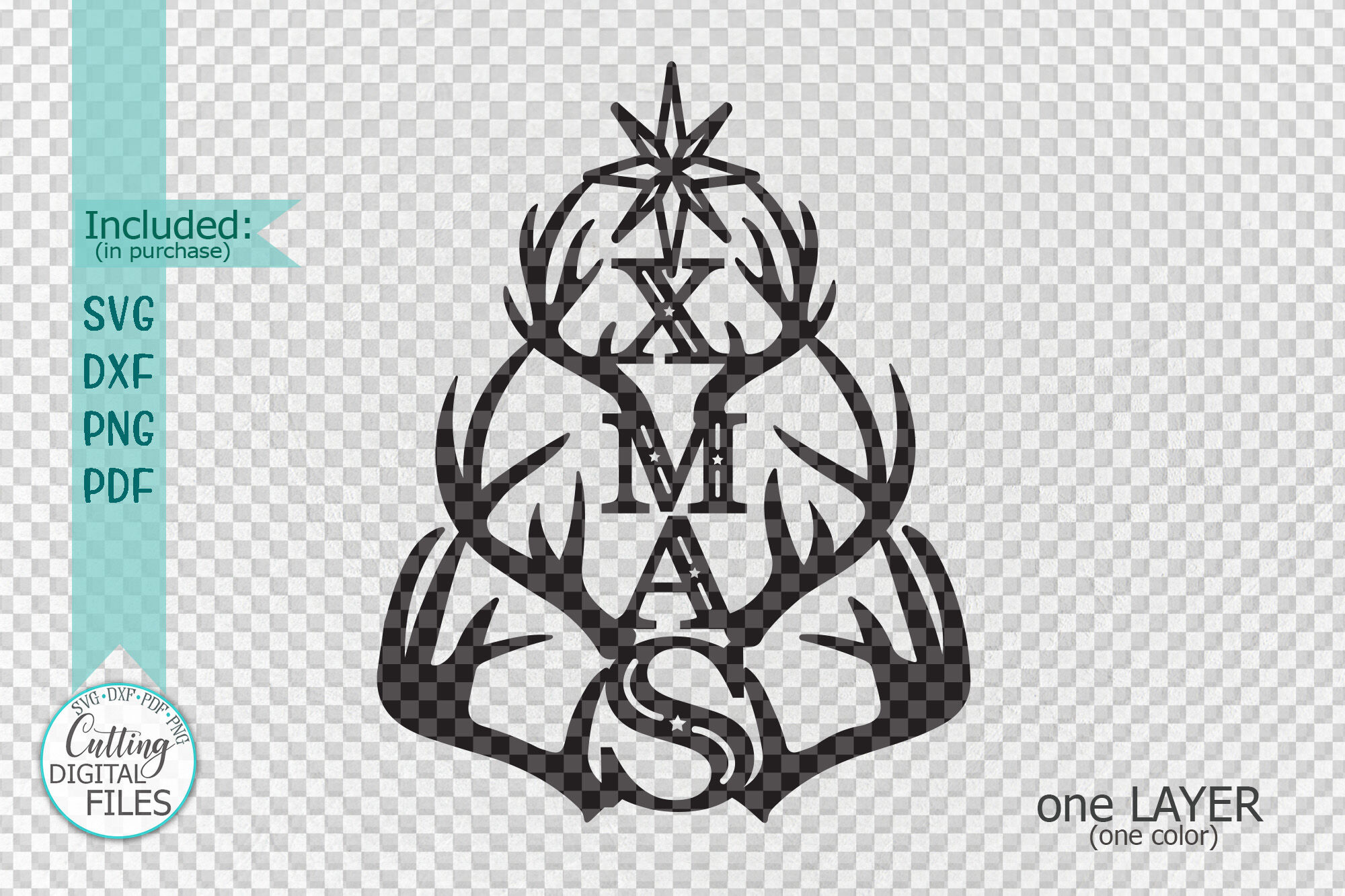 Christmas Tree Xmas With Deer Antlers Laser Cut Out Svg Png By