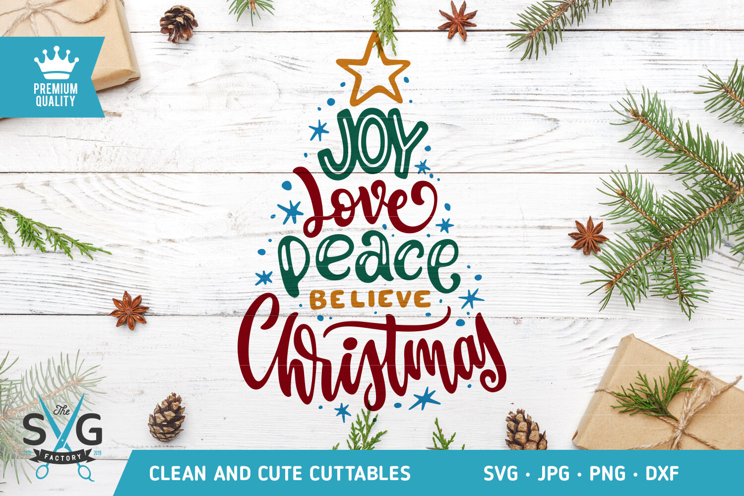 Christmas Tree Typography Svg Cut File By Thesvgfactory