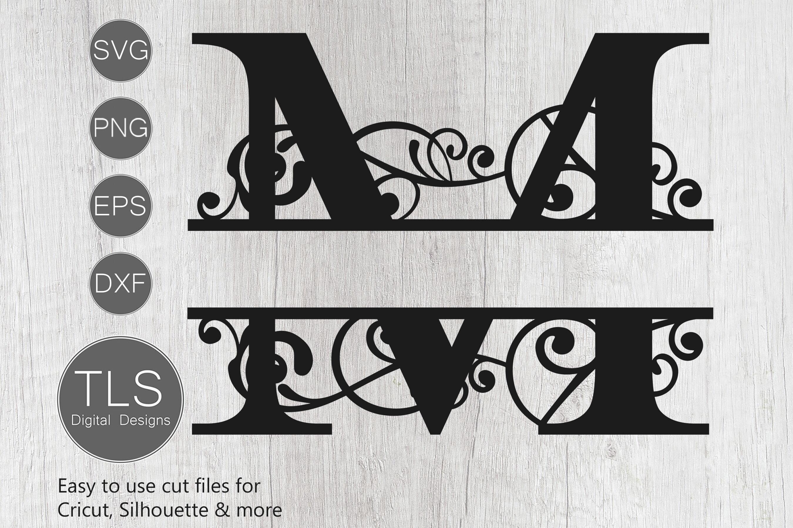 Letter M Split Monogram Svg Split Monogram Svg Letter M Cricut