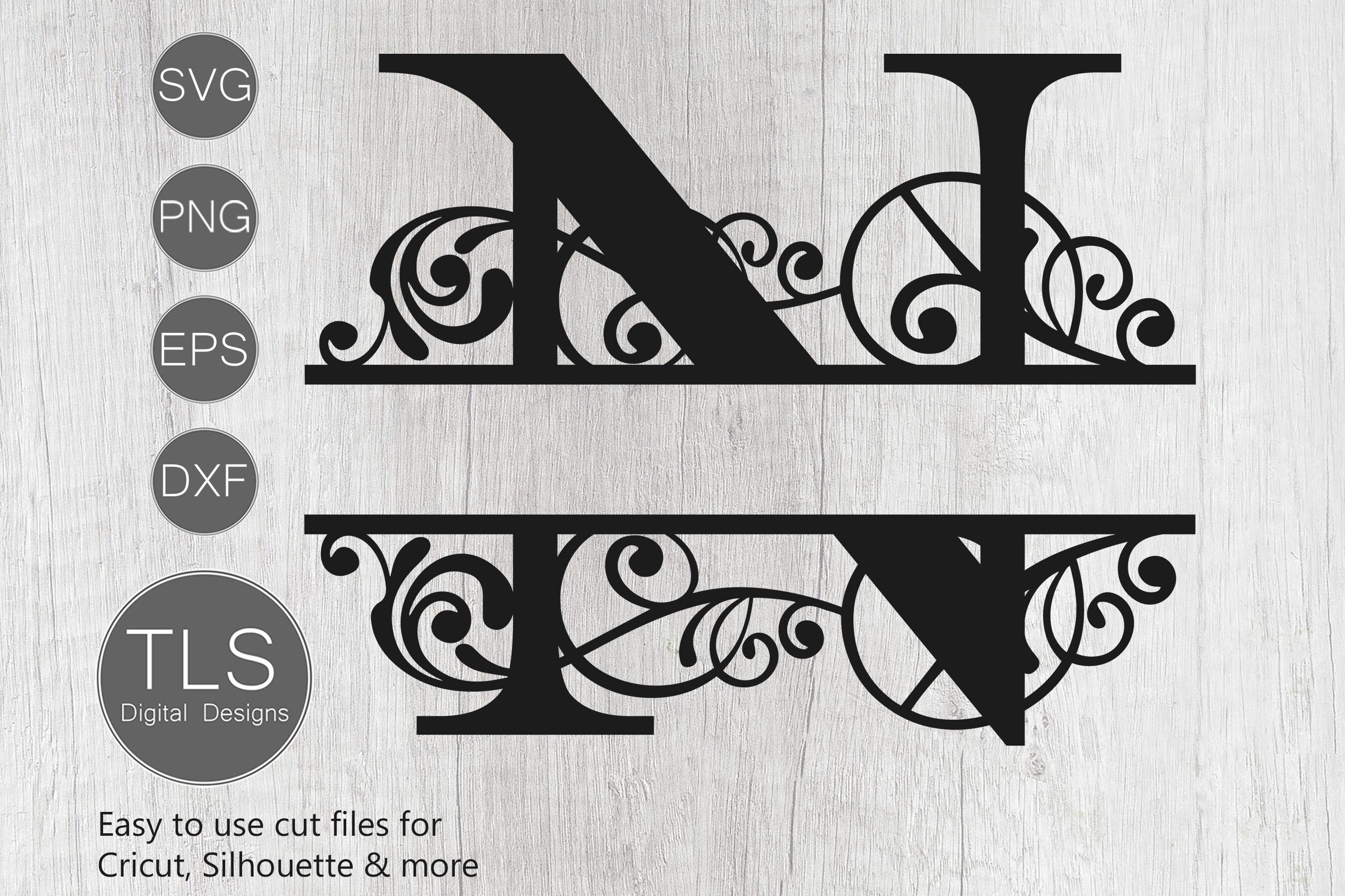 Letter N Split Monogram Svg Split Monogram Svg Letter N Cricut