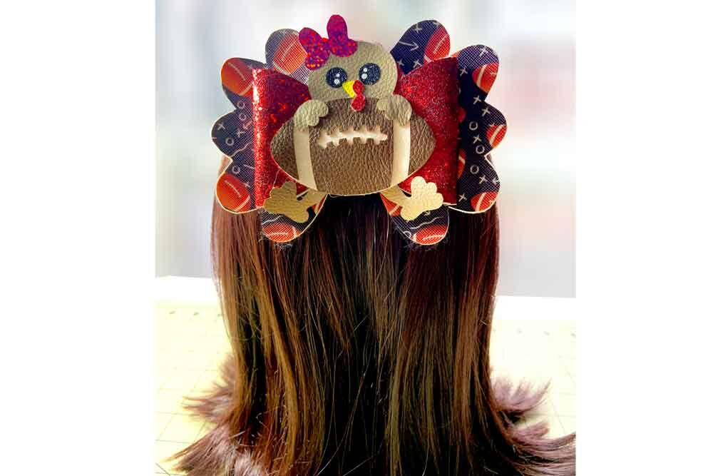 Thanksgiving Turkey Football Hair Bow Template Cheer Bow Svg Png