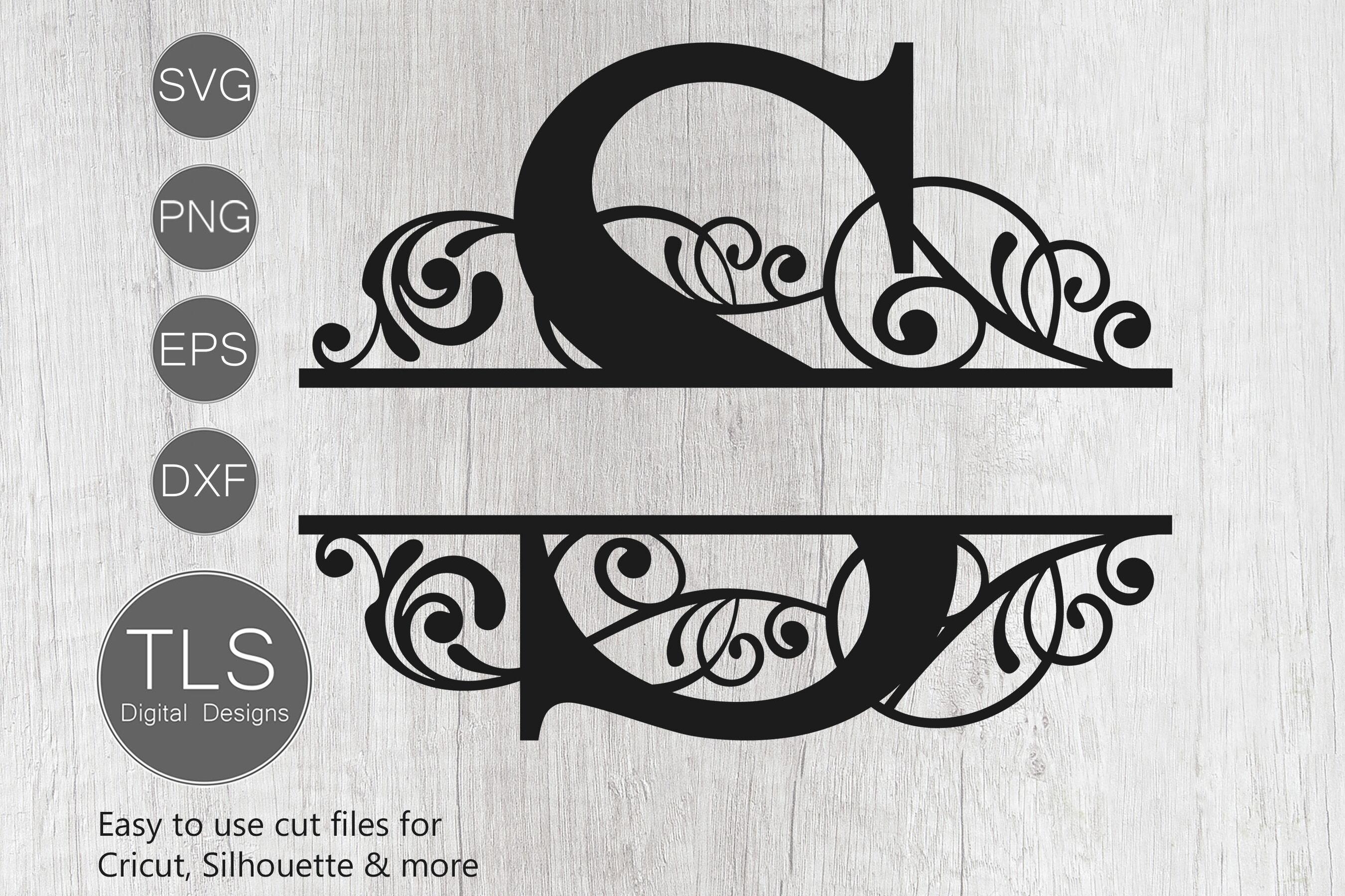 Letter S Split Monogram Svg Split Monogram Svg Letter S Cricut