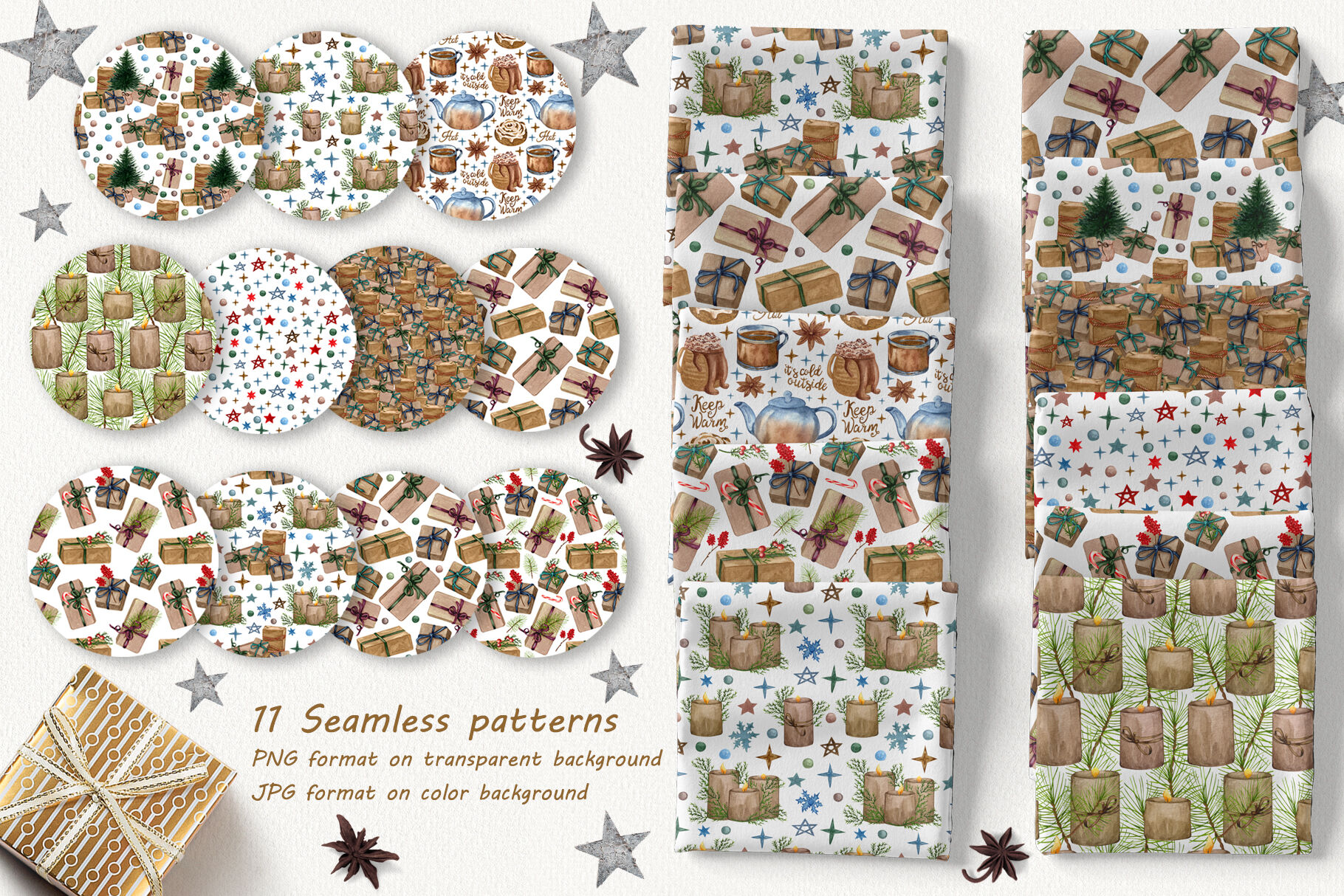 Christmas Time Patterns Collection By Barvart Thehungryjpeg Com
