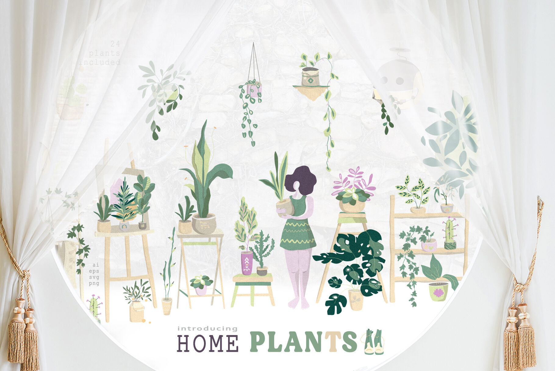 Simple Future Home Plants By Ann Art House Thehungryjpeg Com