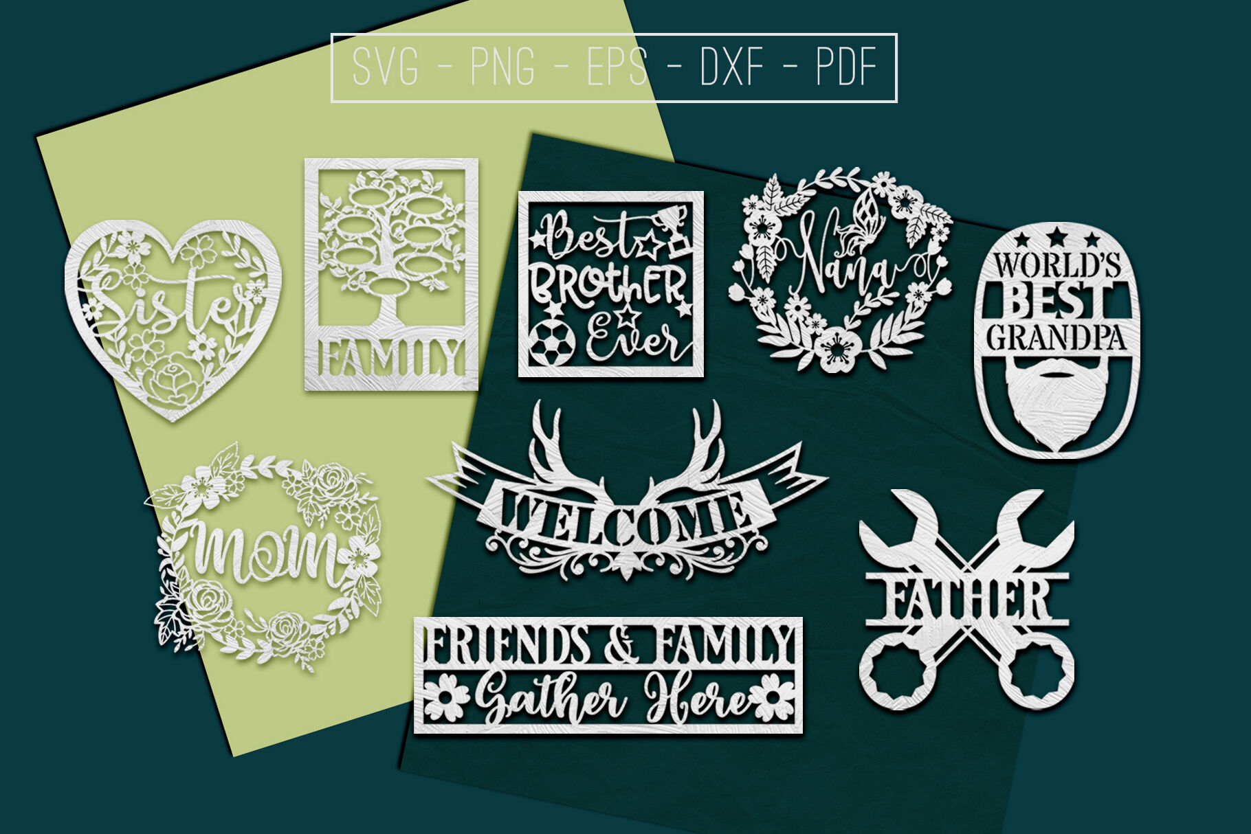9 Family Paper Cut Templates Bundle Sibling Svg Pdf Dxf By