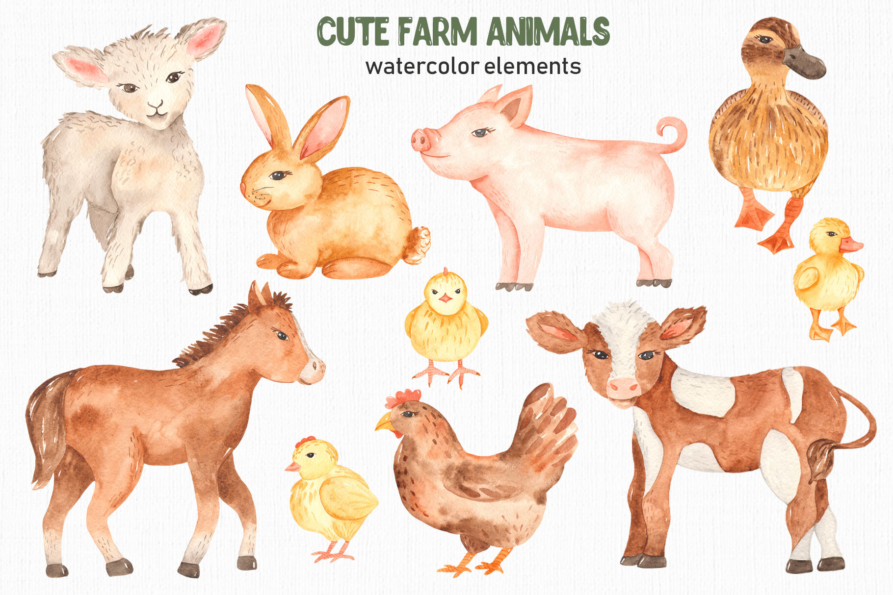 Cute farm animals watercolor collection clipart By Marina ...