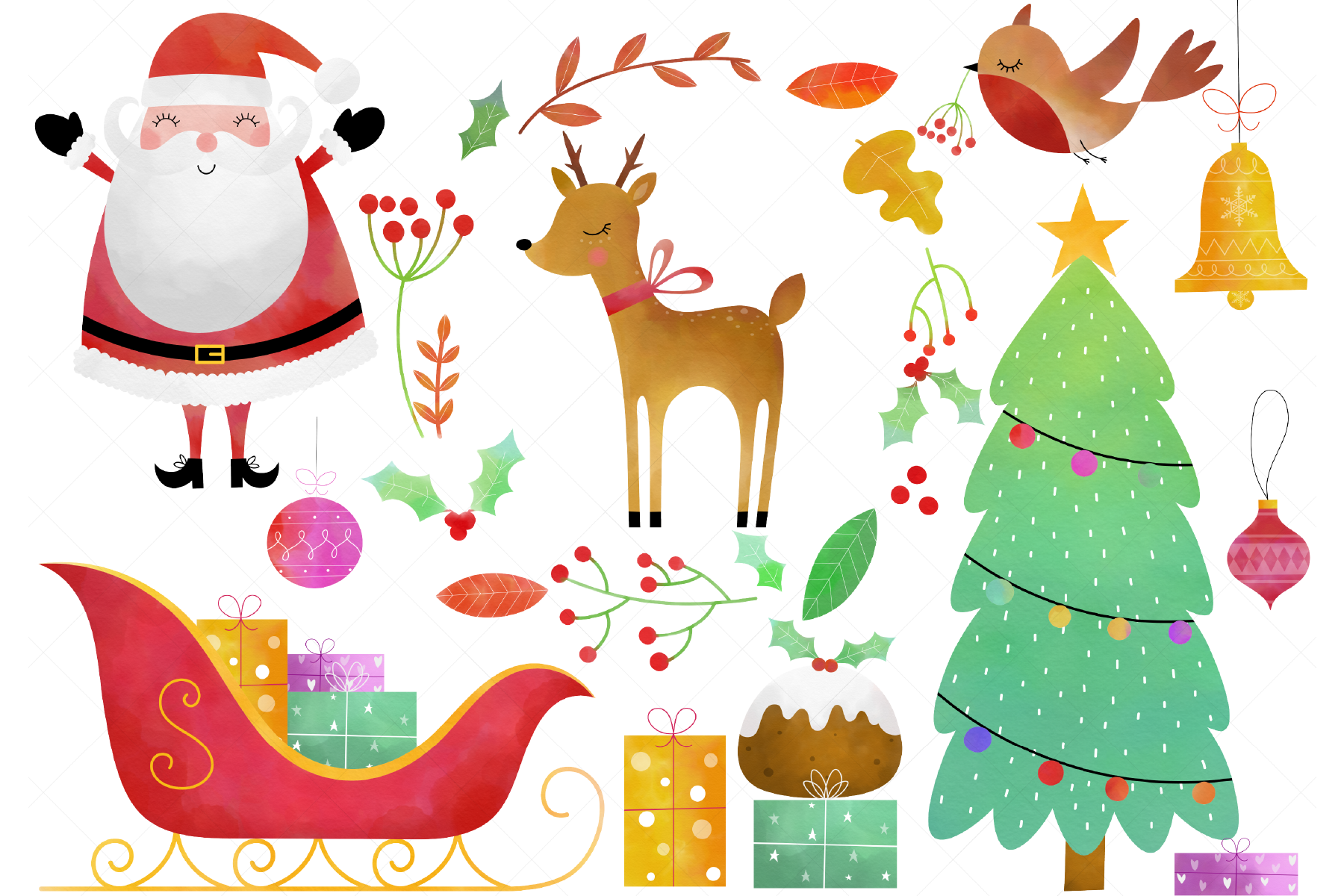 Watercolor Christmas Clip Art By Clipartisan Thehungryjpeg Com