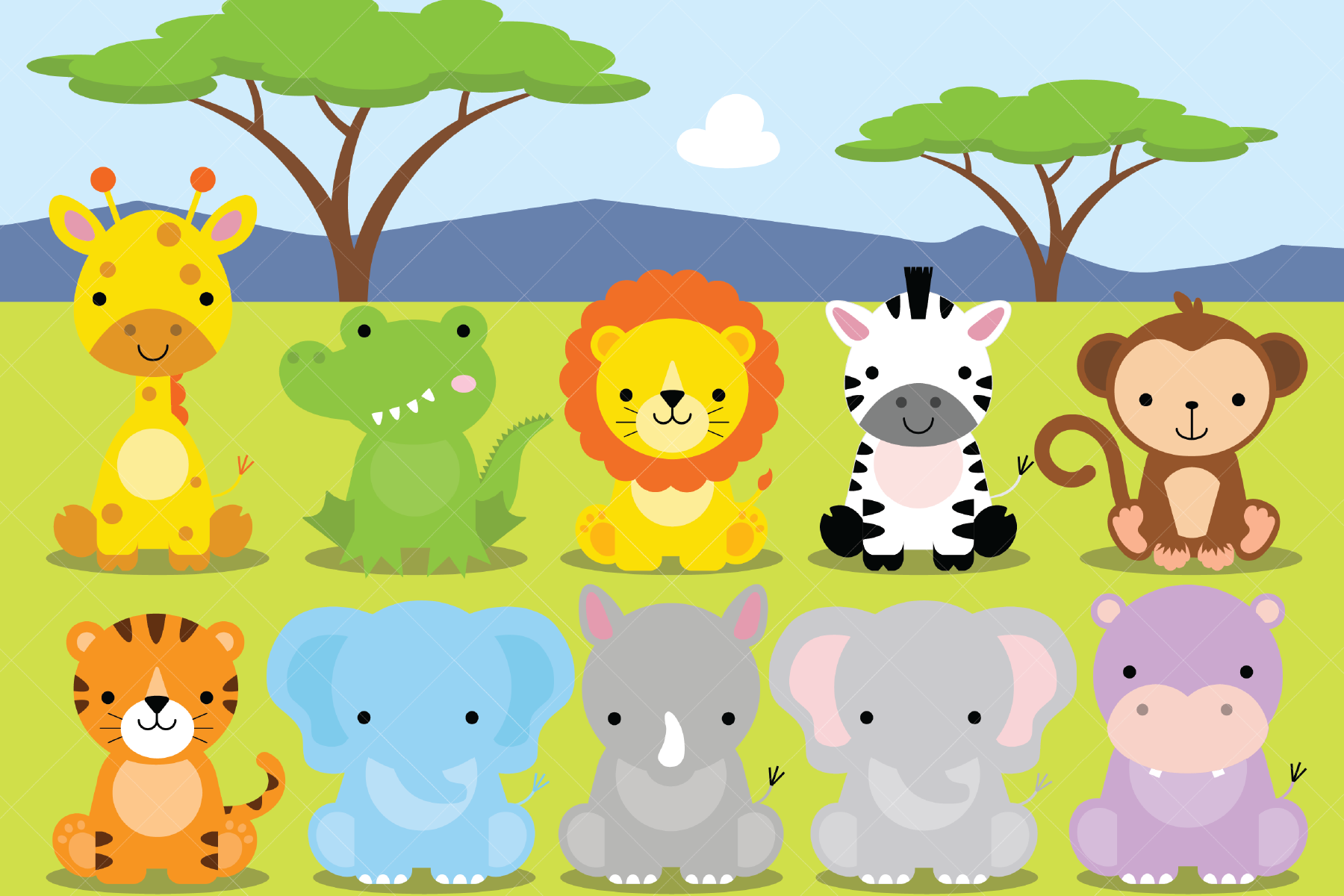 African Animals Clipart, Safari, Zoo By ClipArtisan   TheHungryJPEG.com