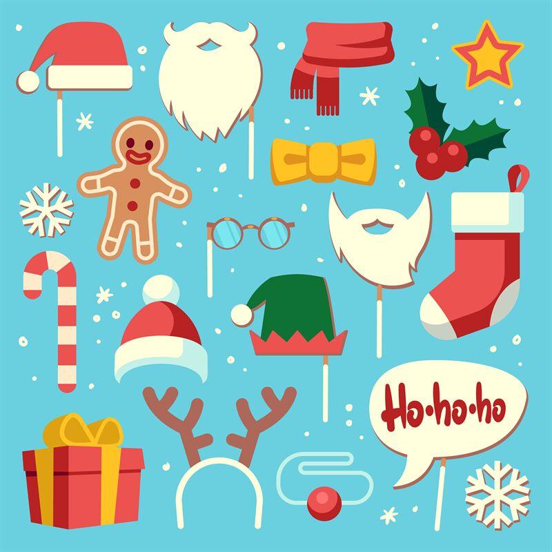 Christmas Photo Booth Props Santa Hat And Beard Elf Hat Festive