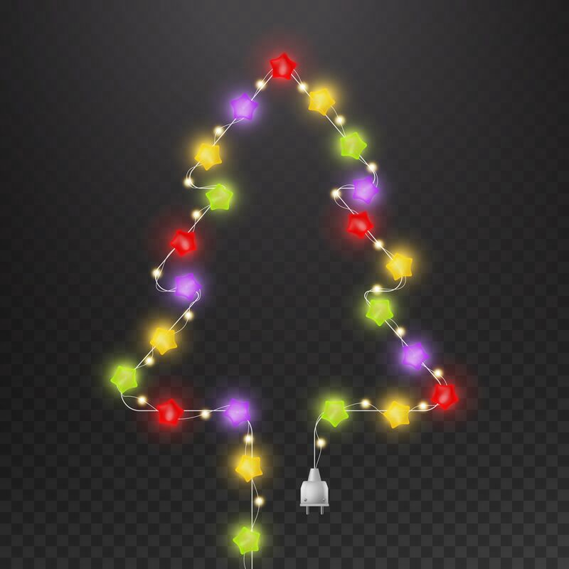 Christmas Tree With Light Garland Fir Tree Shape With Multicolor