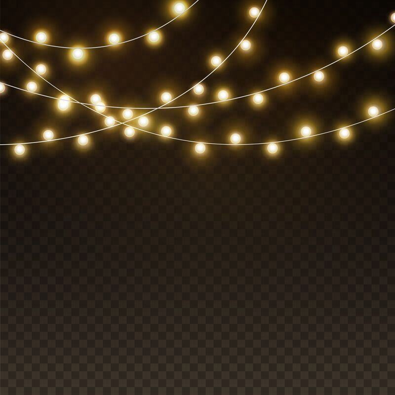 Light Garlands Background Realistic Christmas Lights Glowing Led