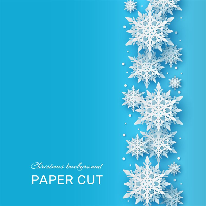 Christmas Background Papercut 3d White Snowflake Shapes On Blue