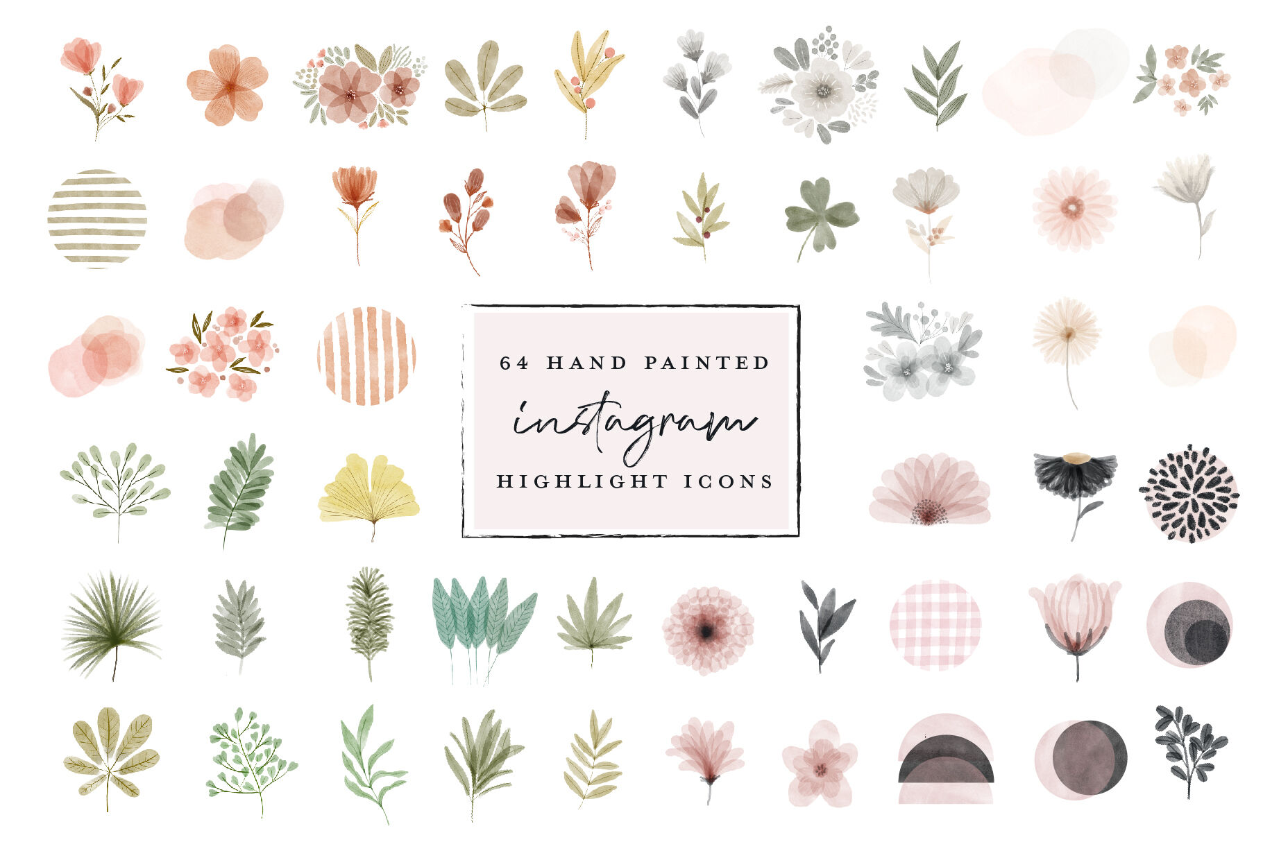 64 Instagram Highlight Icon Bundle Watercolor Hand Painted By
