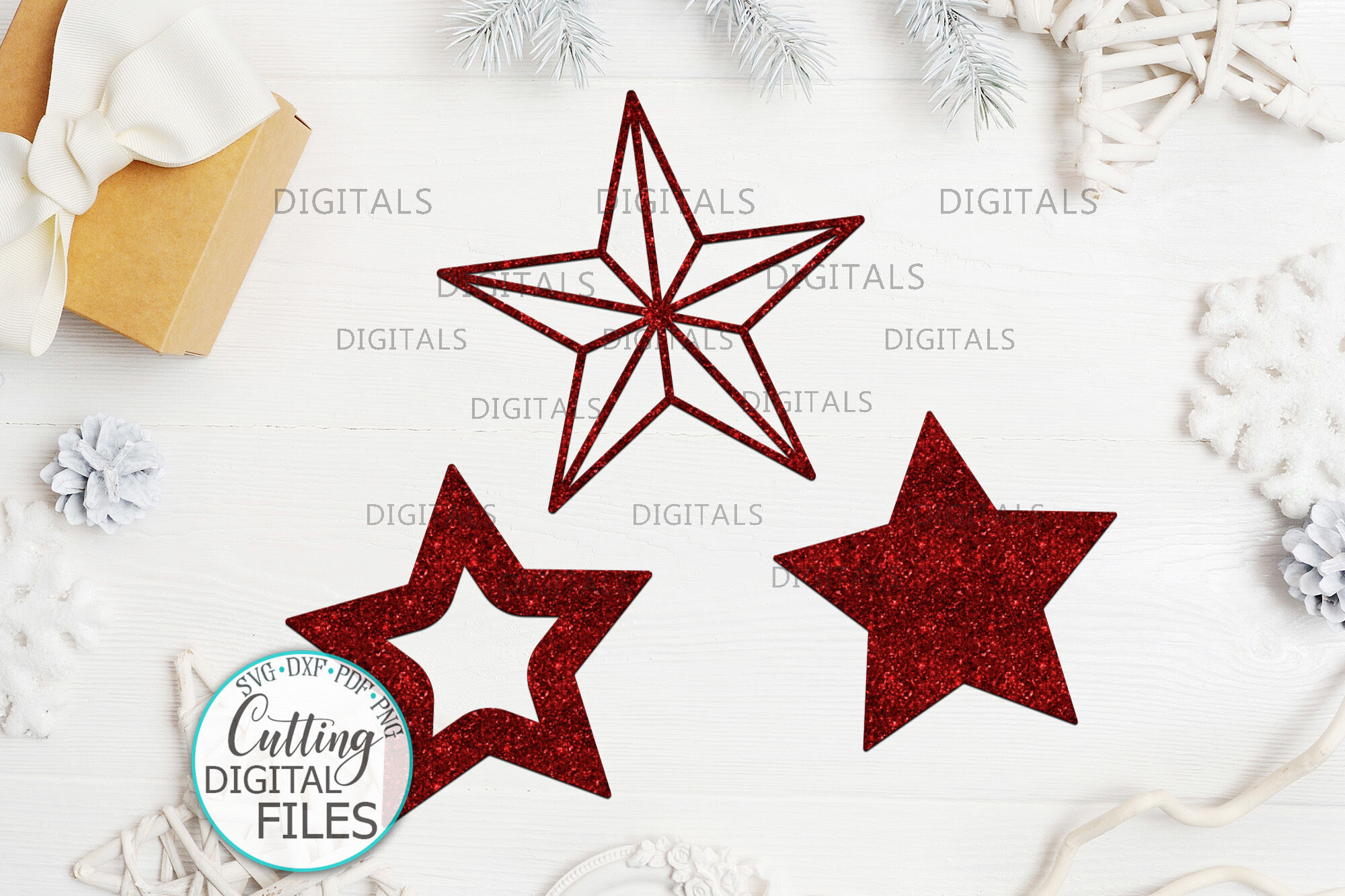 Christmas Star Set Decoration For Christmas Tree Svg Laser Cut Out