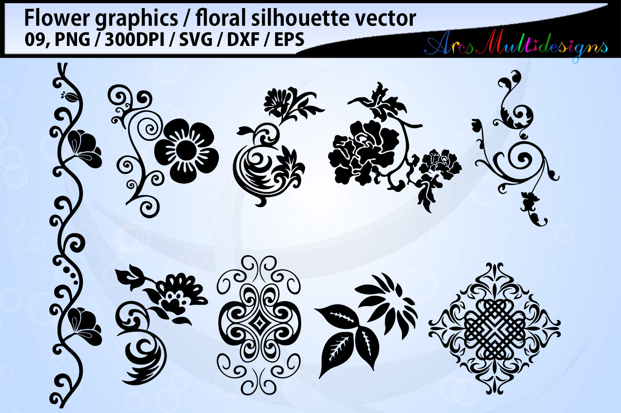 Flowers Silhouette Vector By Arcsmultidesignsshop Thehungryjpeg Com