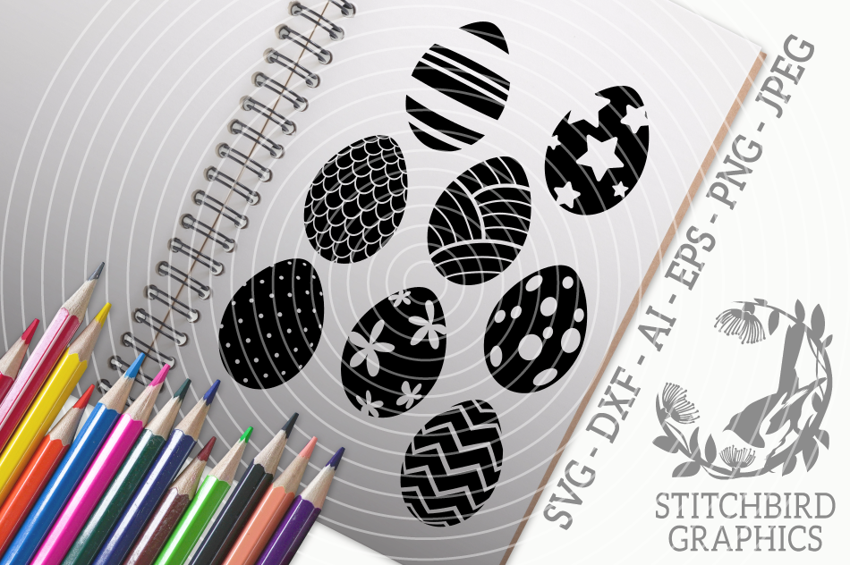 Easter Eggs Svg Silhouette Studio Cricut Eps Dxf Png By