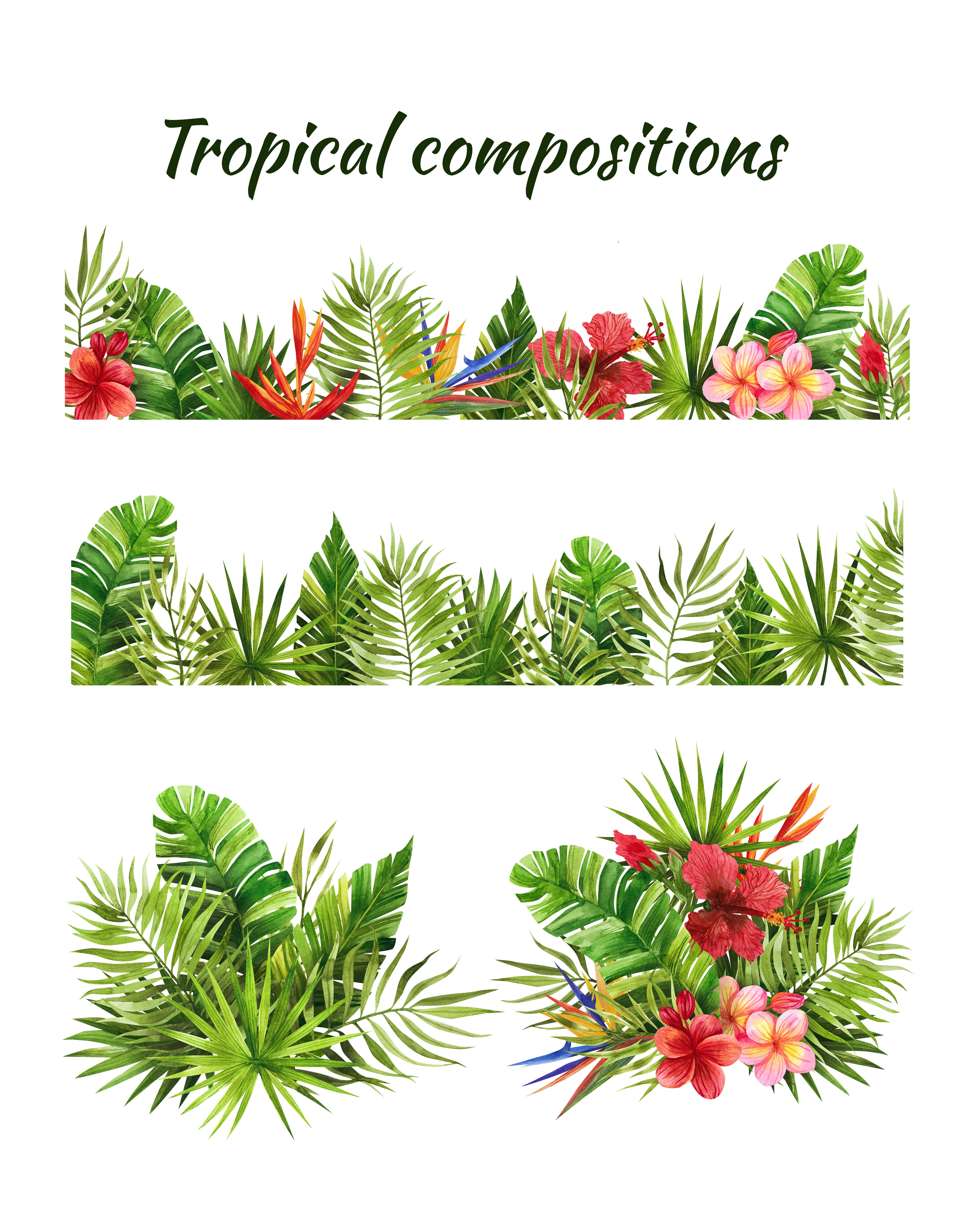 Watercolor Tropical Leaves And Flowers Clip Art Digital Drawing