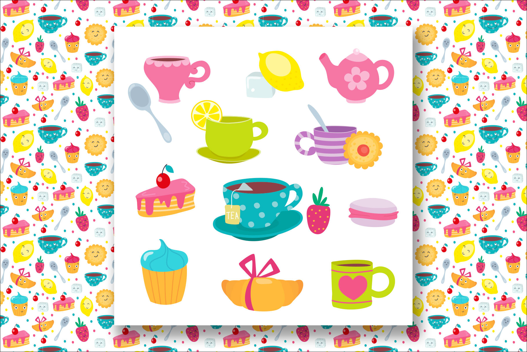Cups And Sweets Funny Emojis By Nesterova S Shop Thehungryjpeg Com