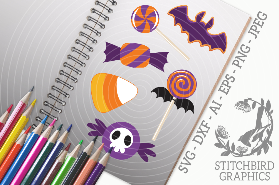 Halloween Candy Svg Silhouette Studio Cricut Eps Dxf Ai By